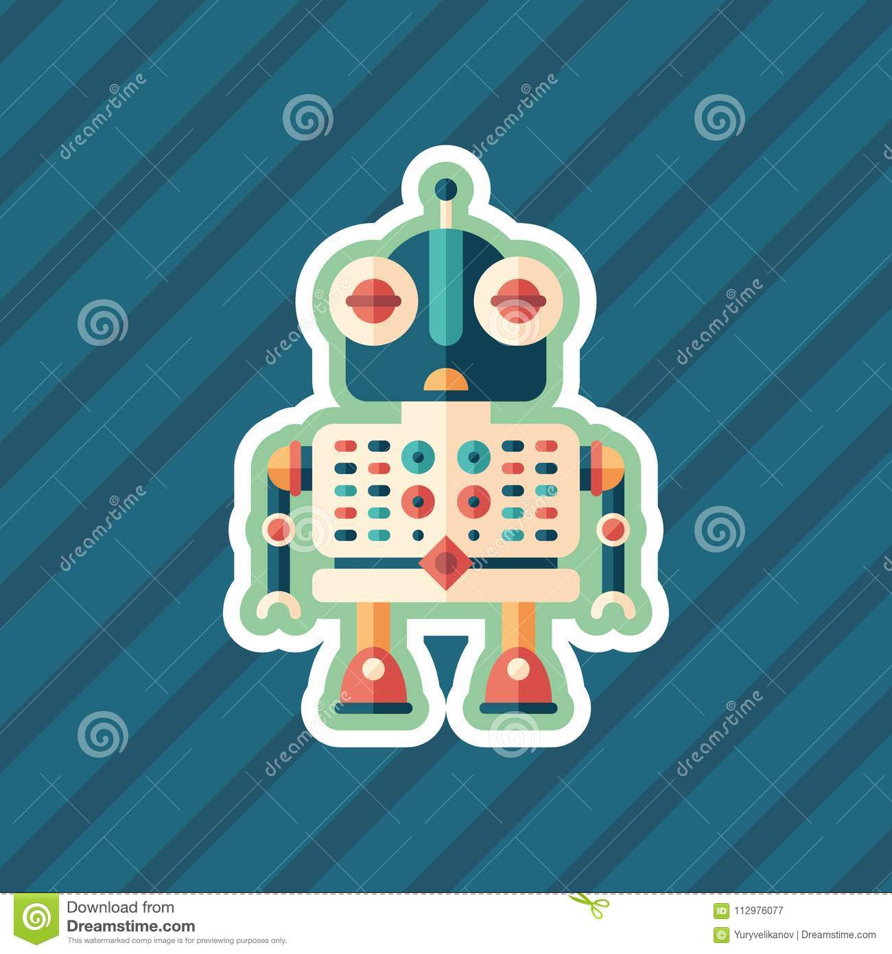 Robot assistant sticker flat icon with color background.