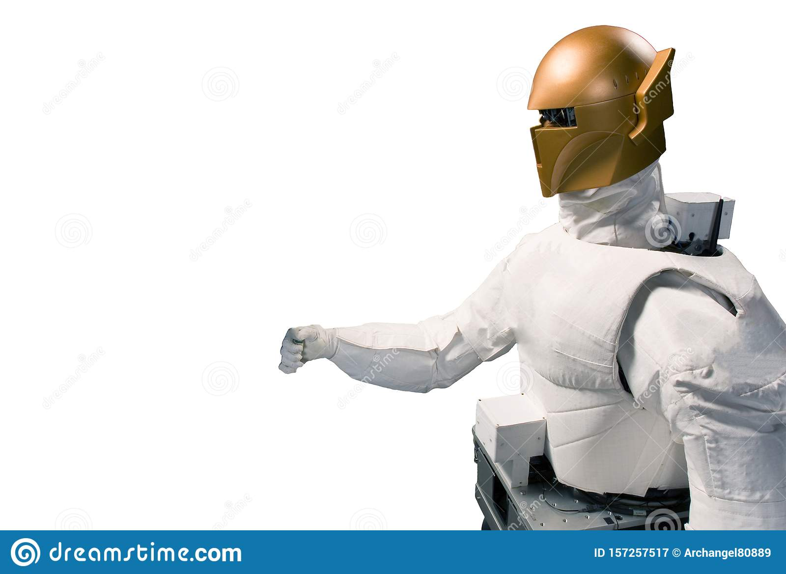 Robot astronaut isolated on a white background. Elements of this image were furnished by NASA