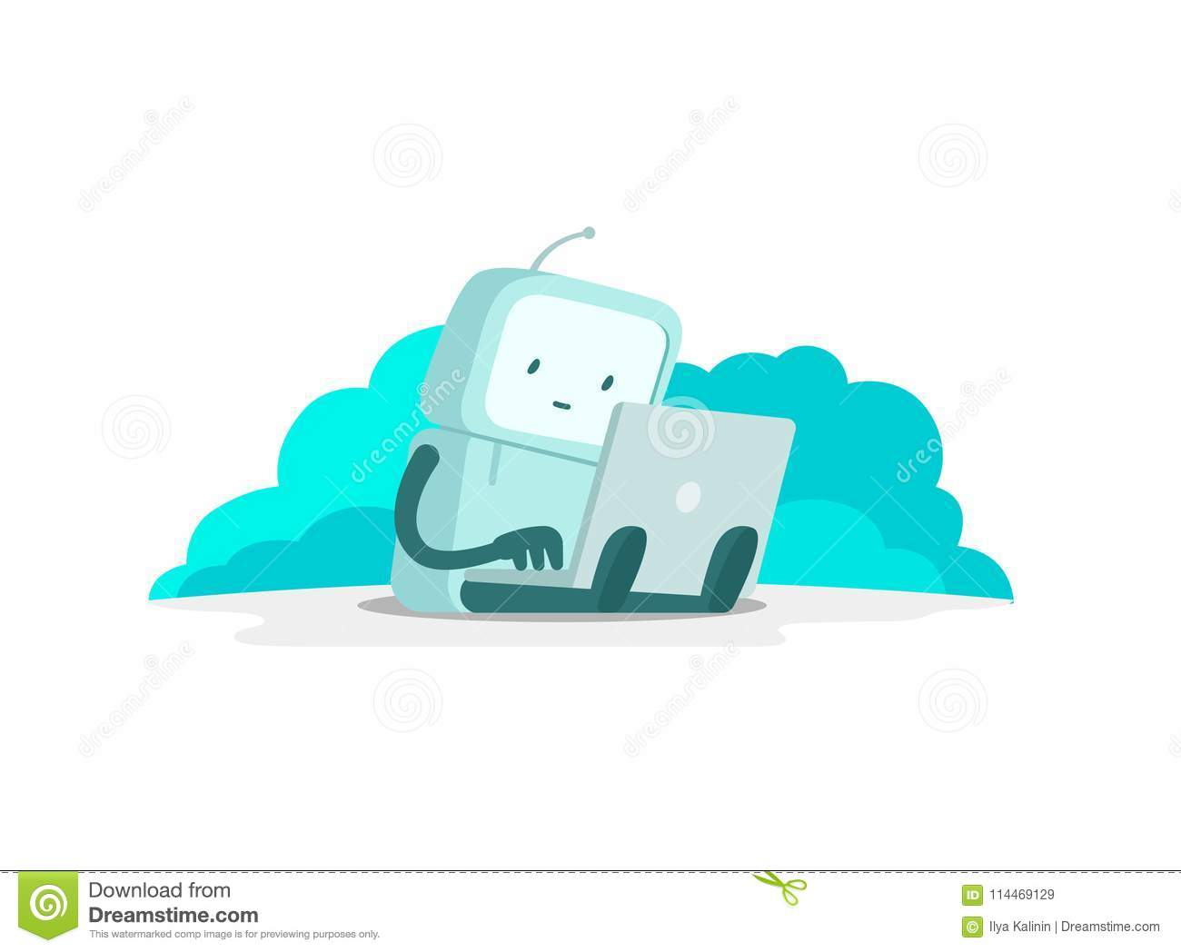 The robot astronaut man sits with laptop. Search on the Internet. Internet surfing. Error page not found. Flat color