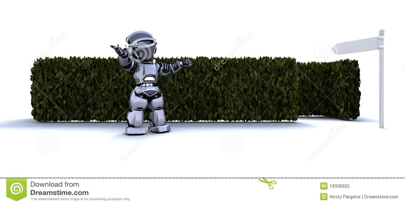 Robot au début d un labyrinthe