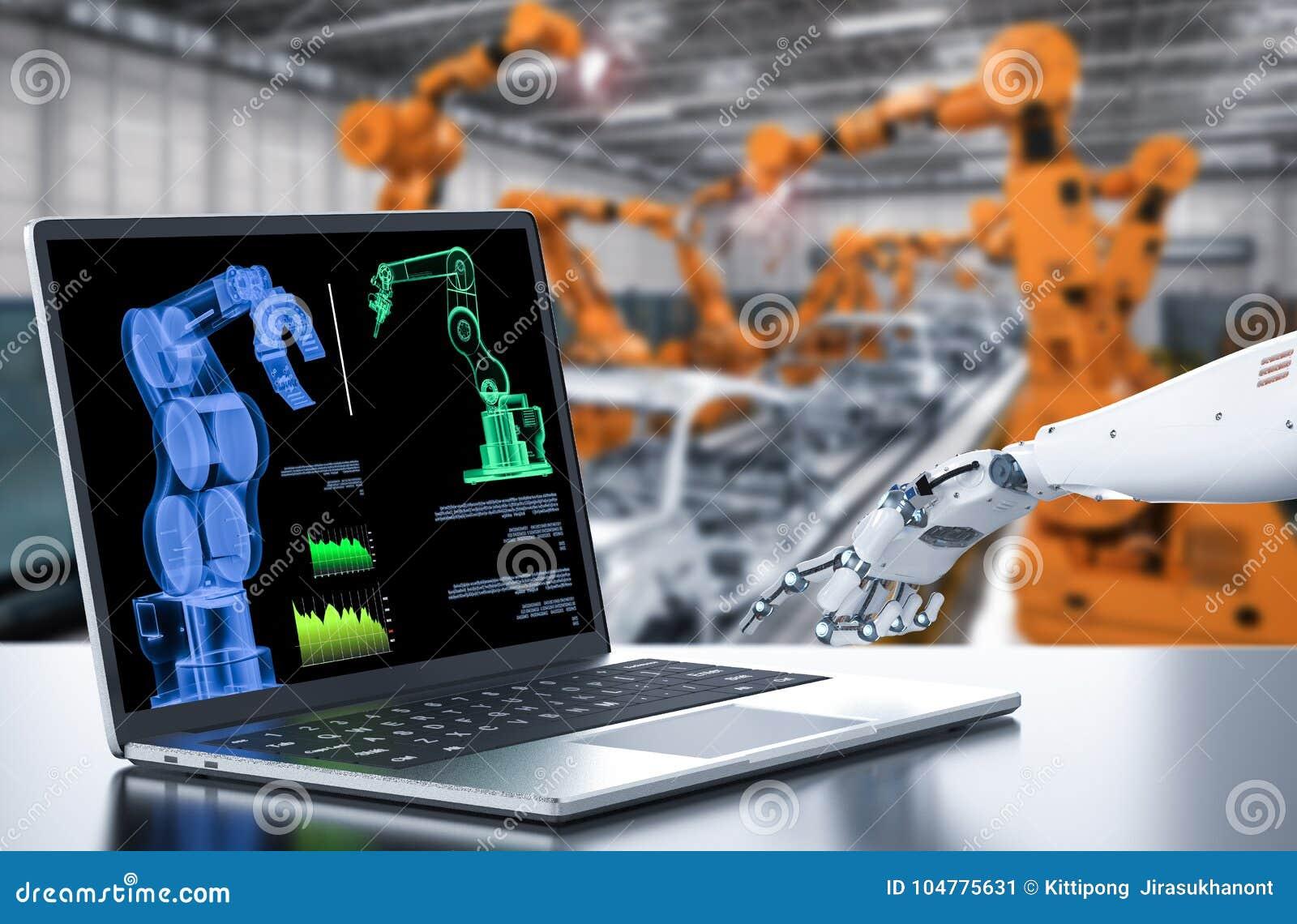 Robot avec l ordinateur dans l usine