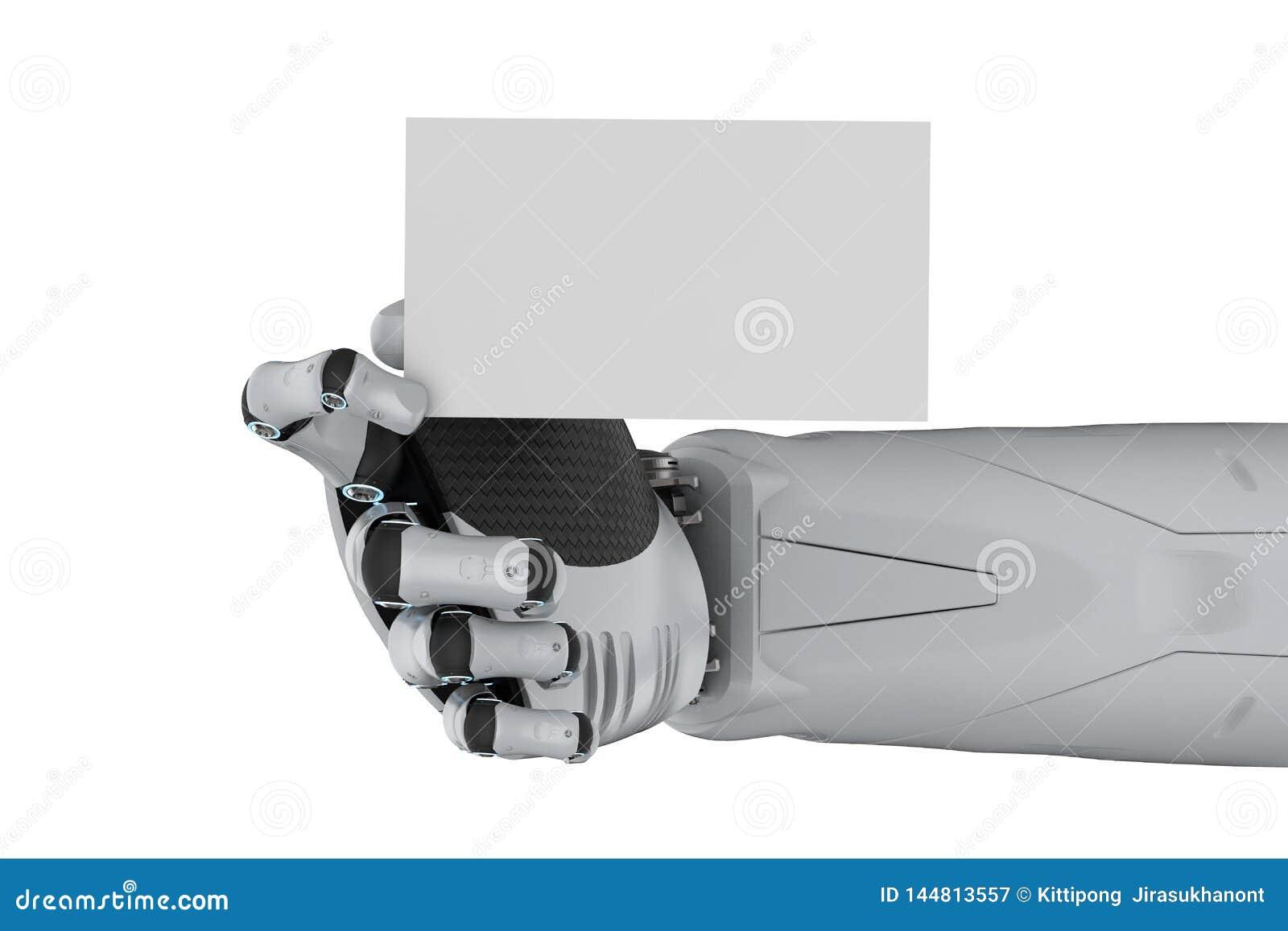 Robot avec la carte de visite professionnelle vierge de visite