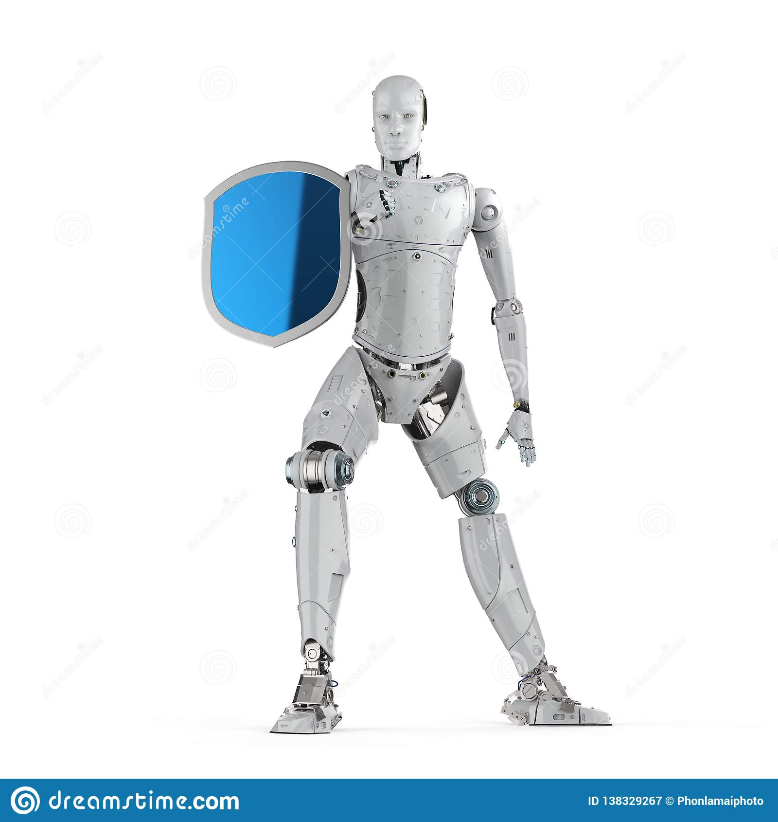 Robot avec la protection de bouclier