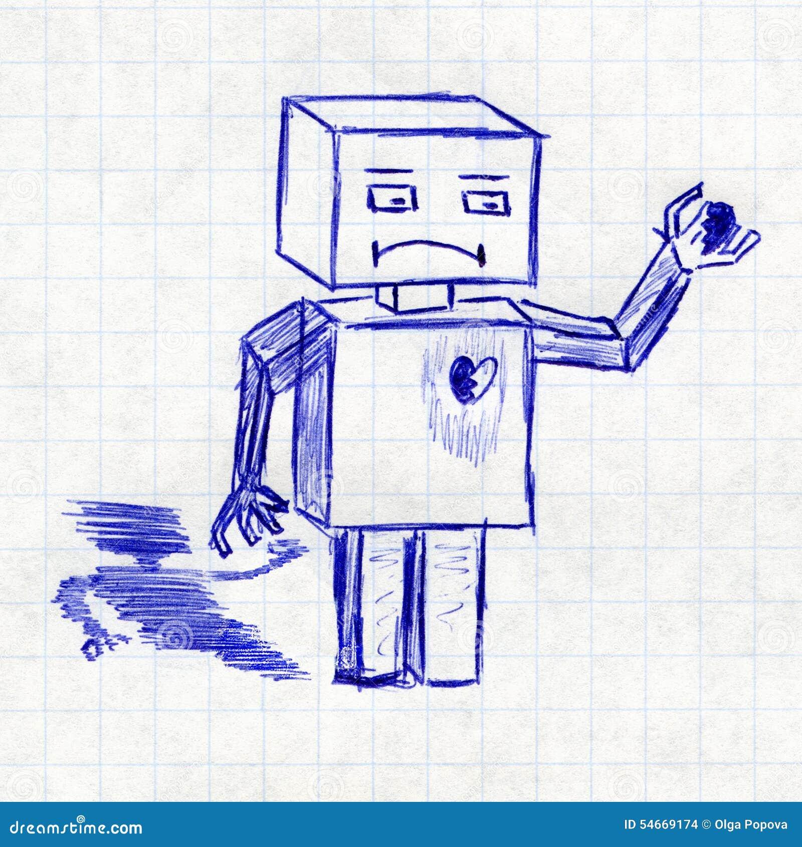 Robot avec le coeur bris le dessin des enfants dans un - Dessin de coeur brise ...