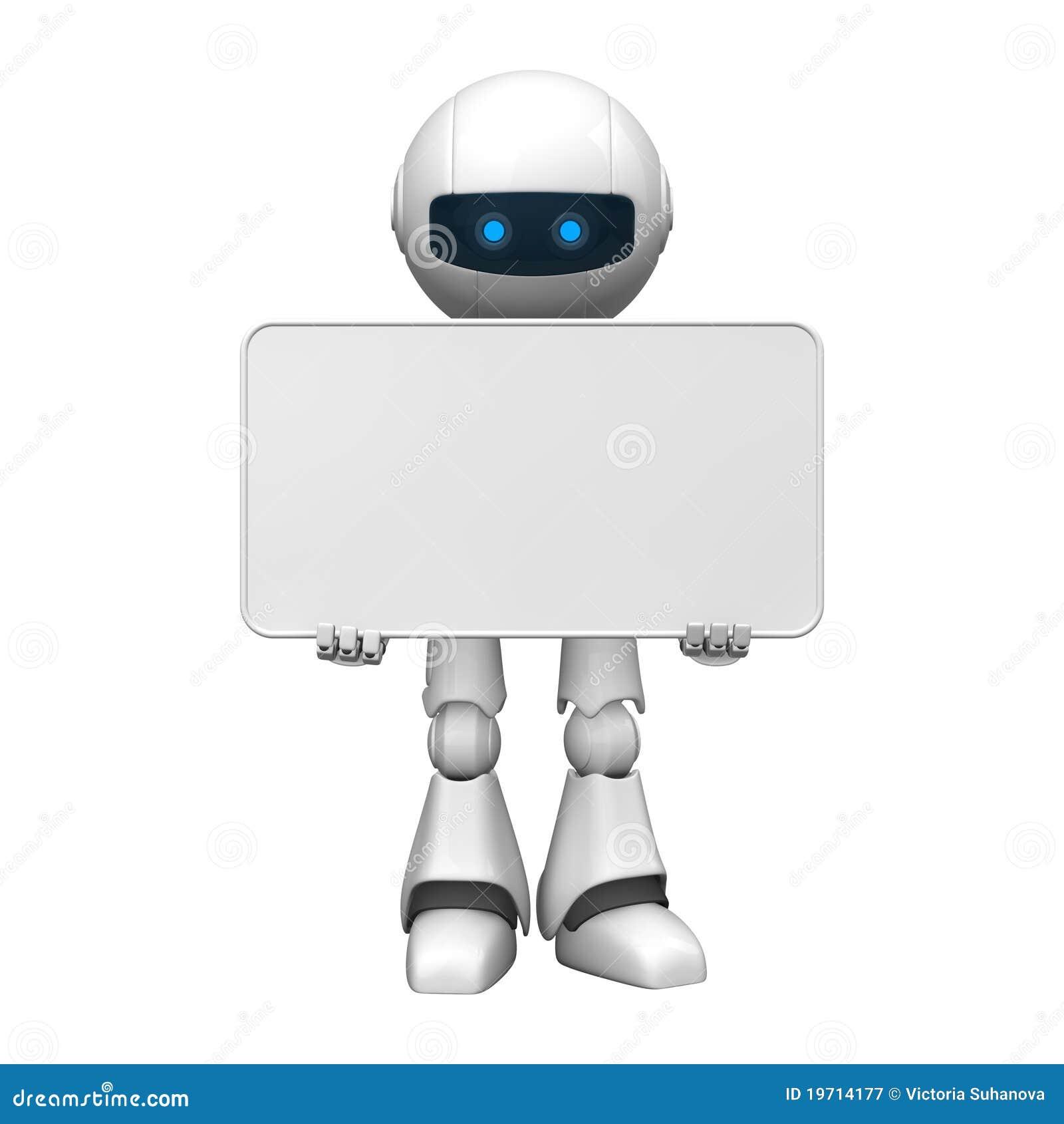 robot avec un panneau blanc illustration stock illustration du prises rendu 19714177. Black Bedroom Furniture Sets. Home Design Ideas