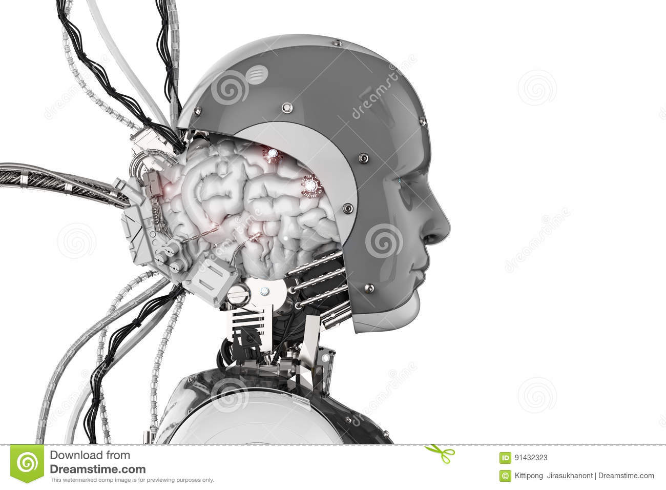 Robot with brain and wires