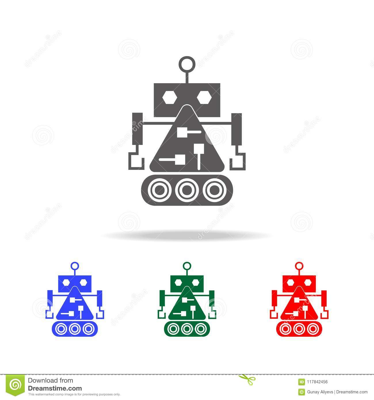 robot builder icons elements of robots in multi colored icons