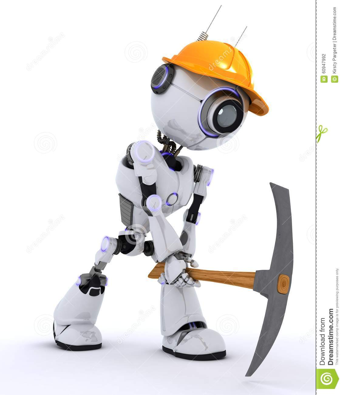 Robot builder with a pickaxe stock illustration image for 3d setup builder