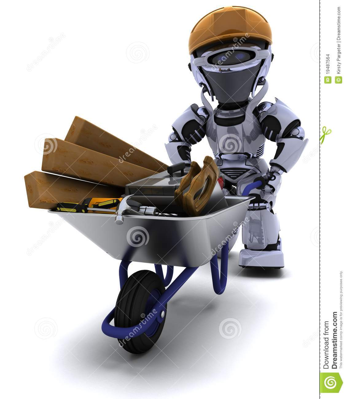 Robot builder with a wheel barrow carrying tools stock for 3d setup builder
