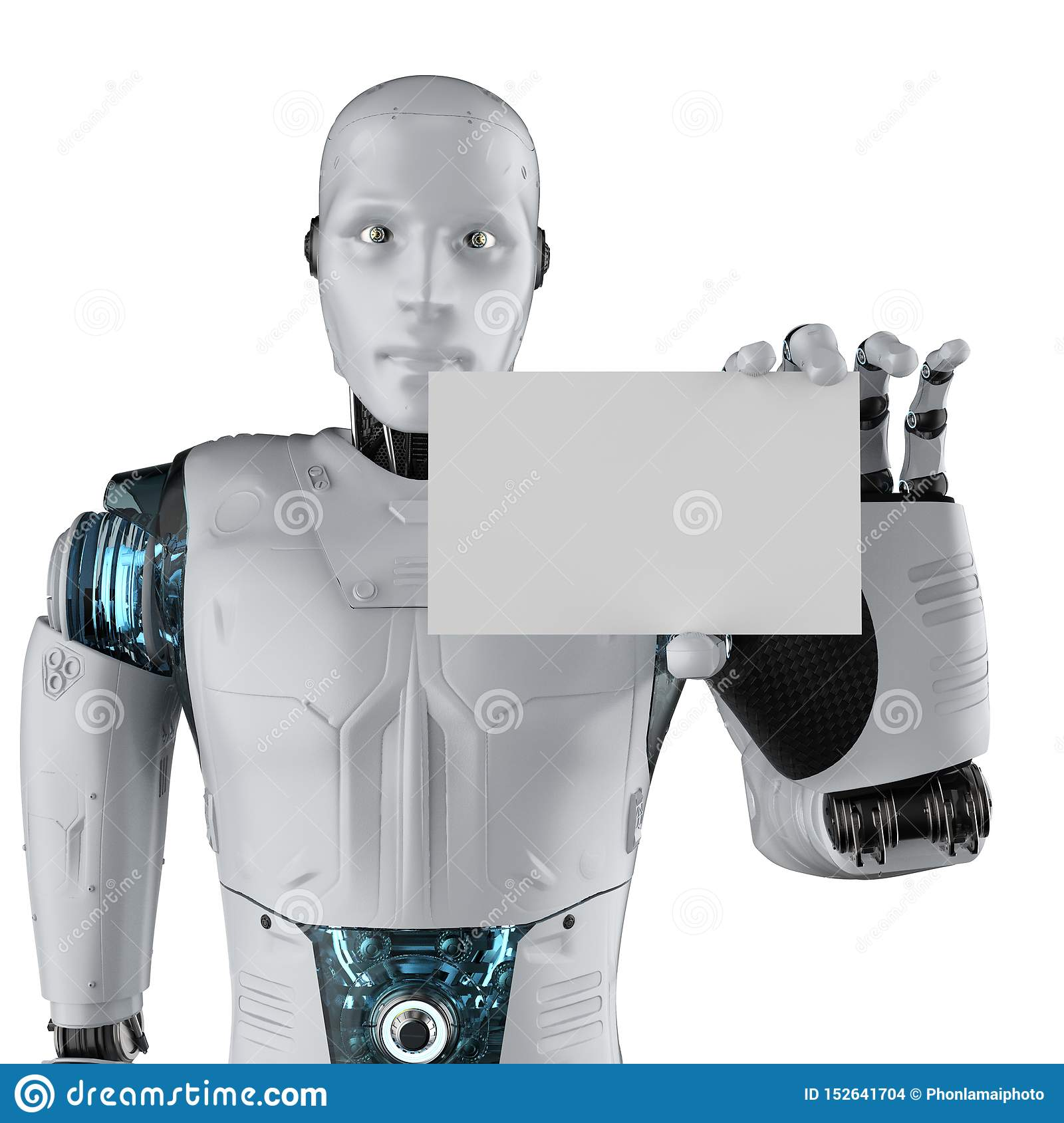 Robot with business card