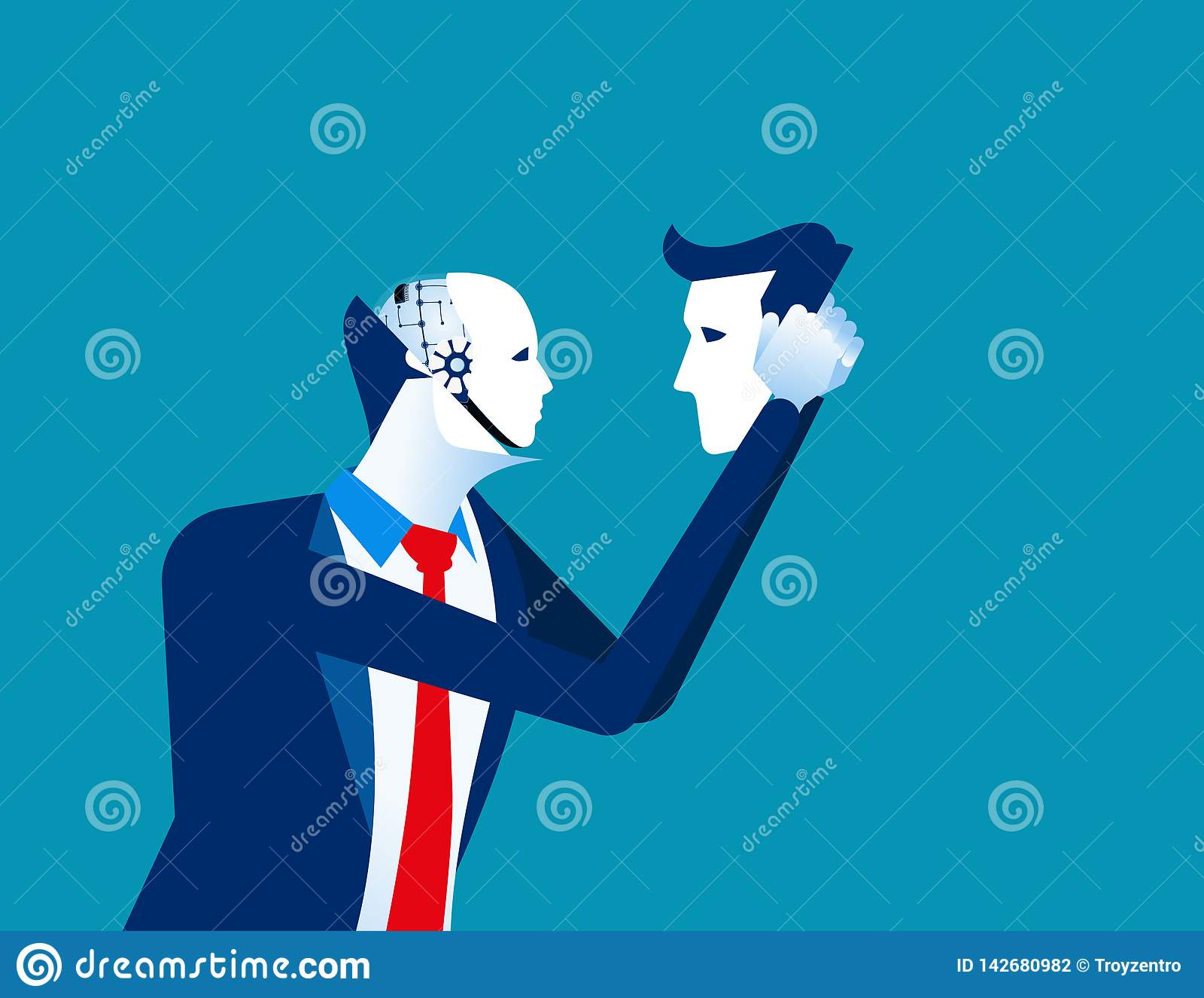 Robot in businessmen head. Concept business technology vector illustration