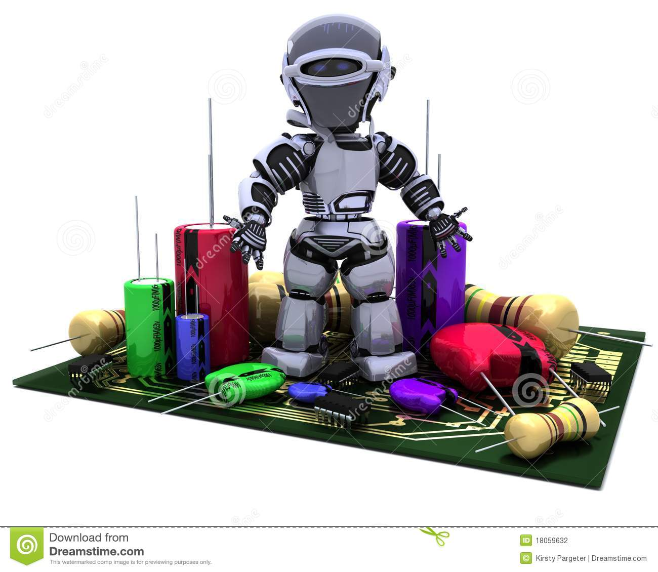 Robot With Capacitors and Resistors