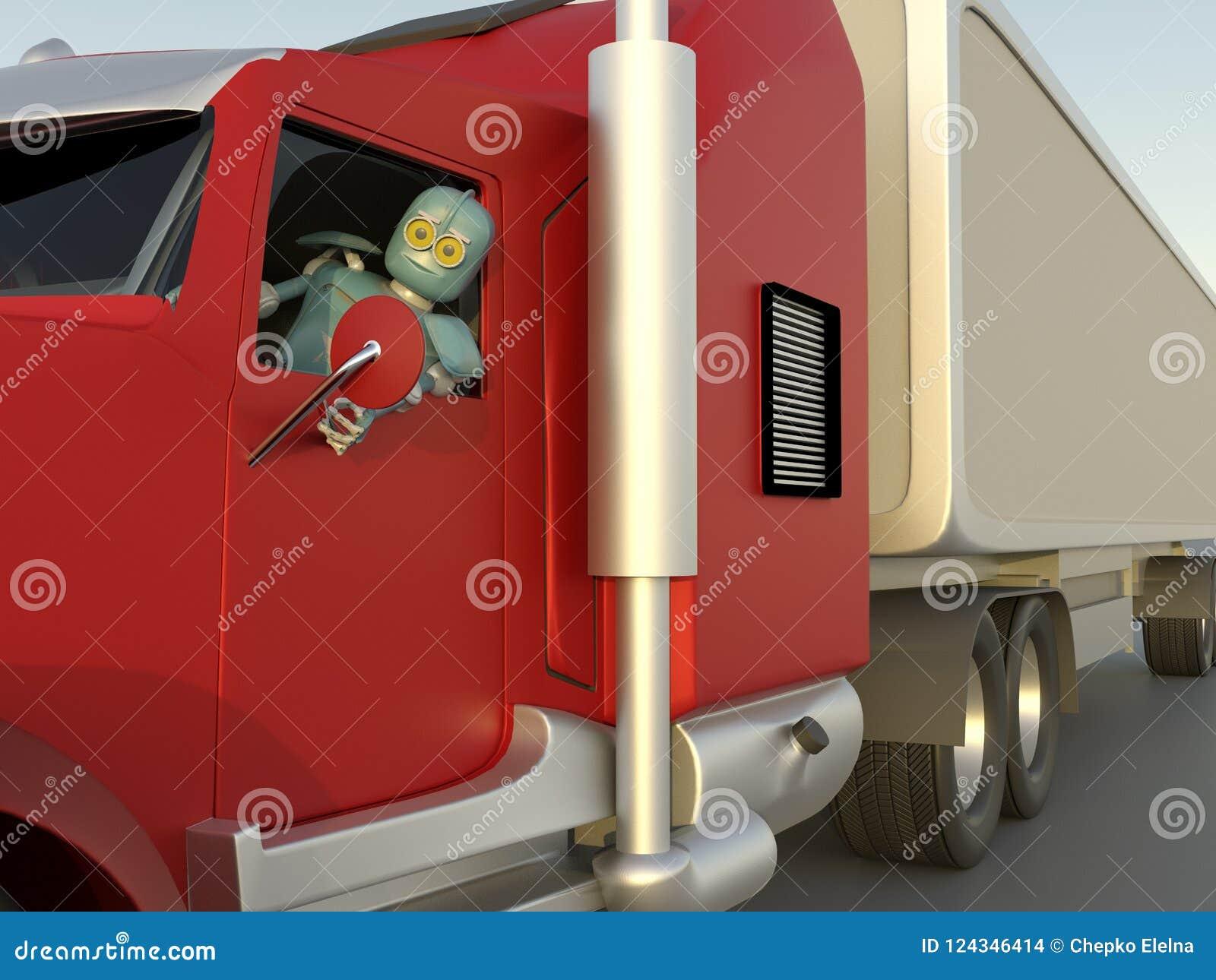 Robot in car 3d render