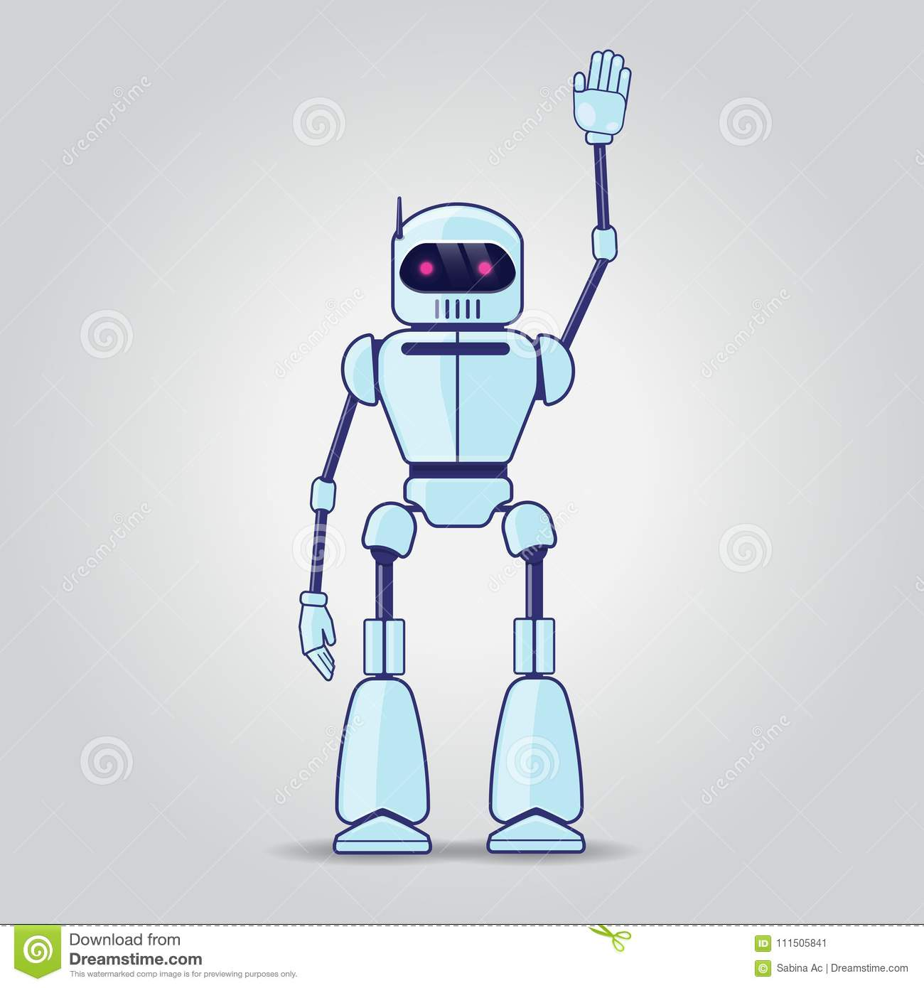 Robot character on gray background