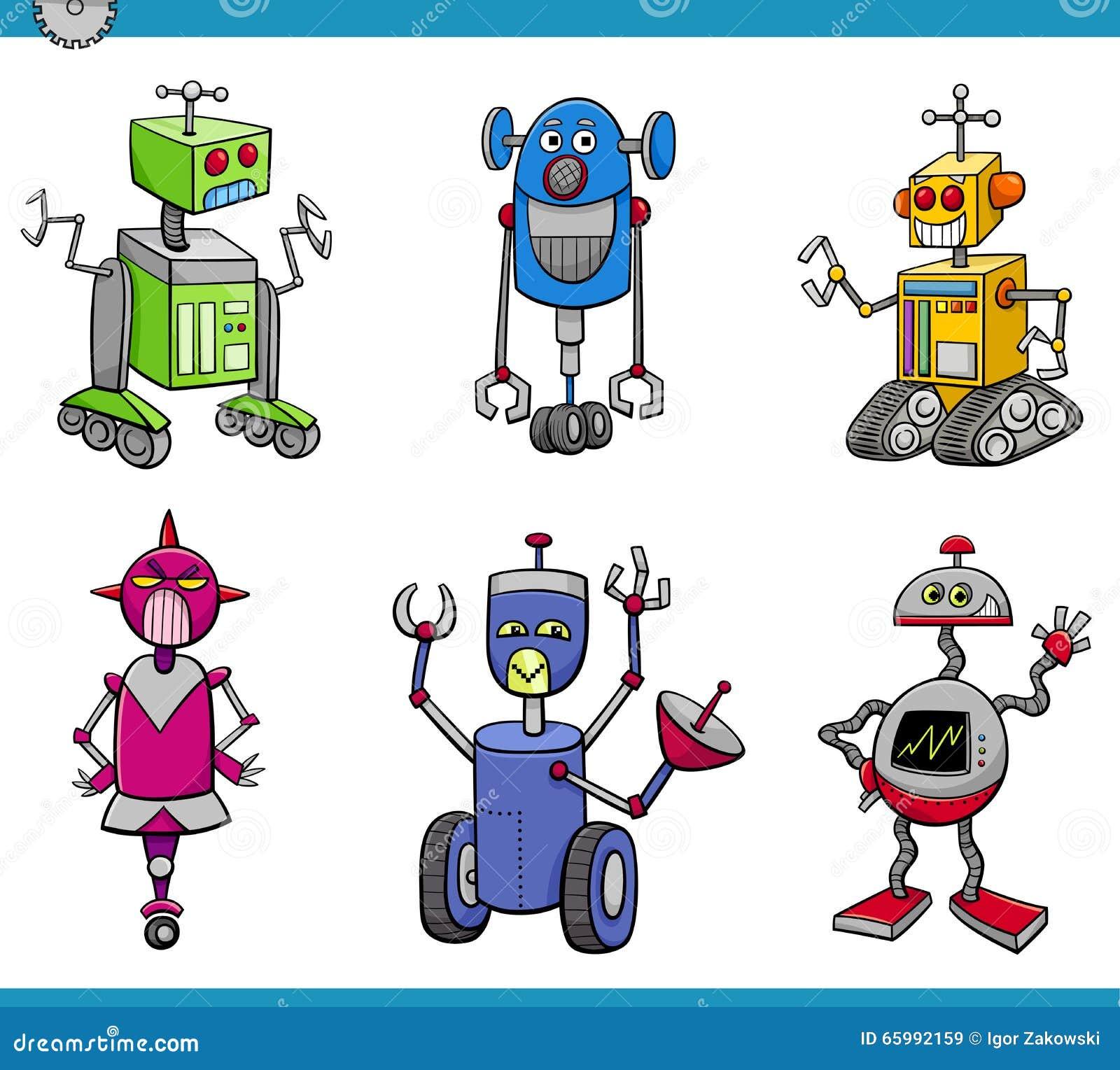 Cartoon Characters As Robots : Robot characters cartoon set stock vector illustration