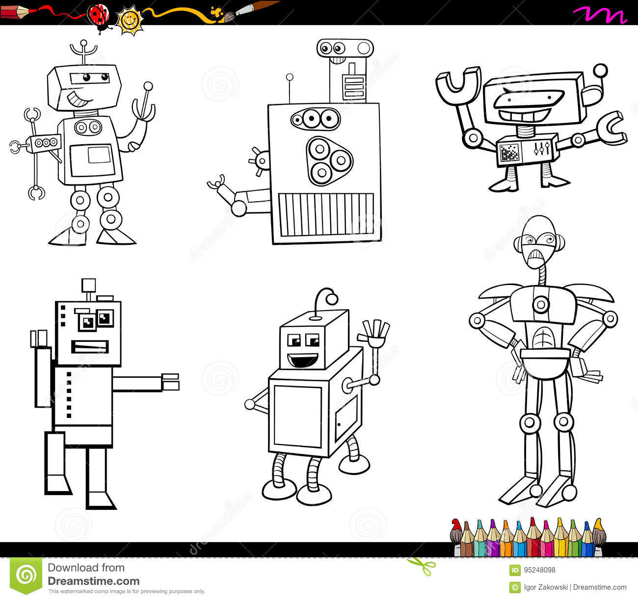 Robot Characters Coloring Book Stock Vector - Illustration of ...
