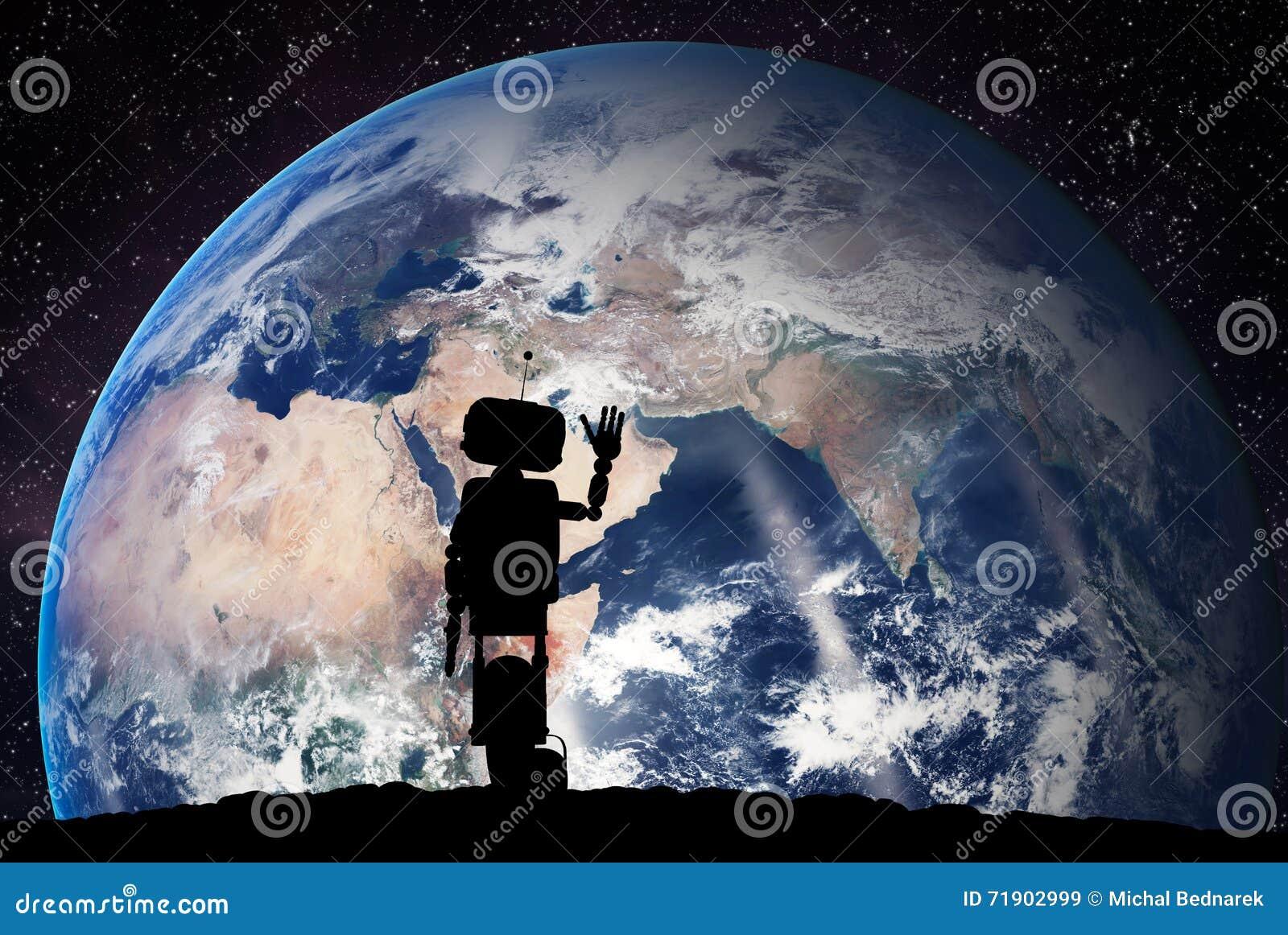 Robot che considera il pianeta Terra da spazio Concetto di tecnologia, intelligenza artificiale
