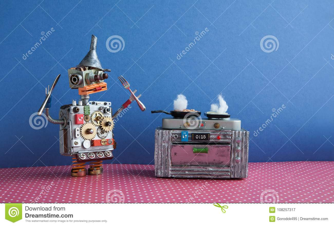 Robot chef cooking frying pan, electronic stove oven. Creative design toys, automation robotic future smart home concept