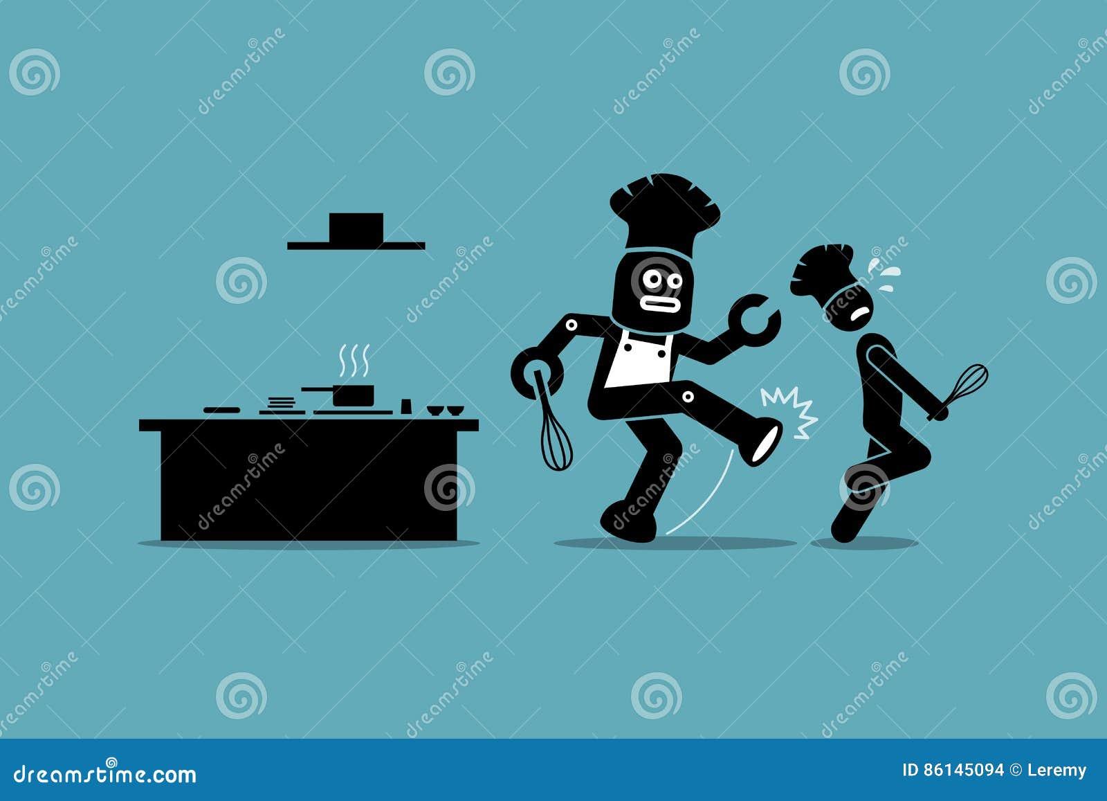 Robot Chef Kicks Away A Human Chef From Doing His Job At Kitchen ...