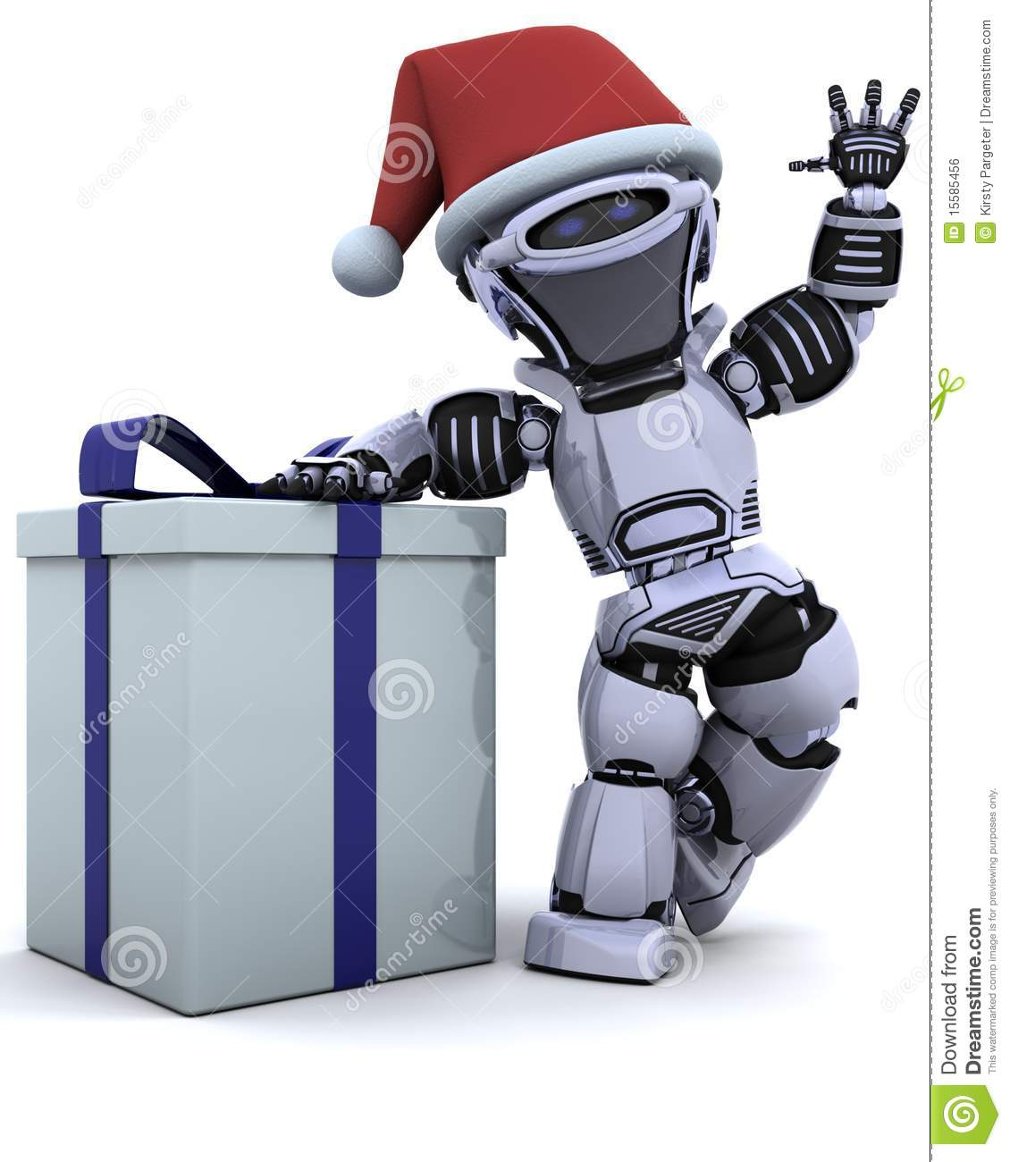Robot With Christmas Gift Box With Bow Royalty Free Stock Image ...