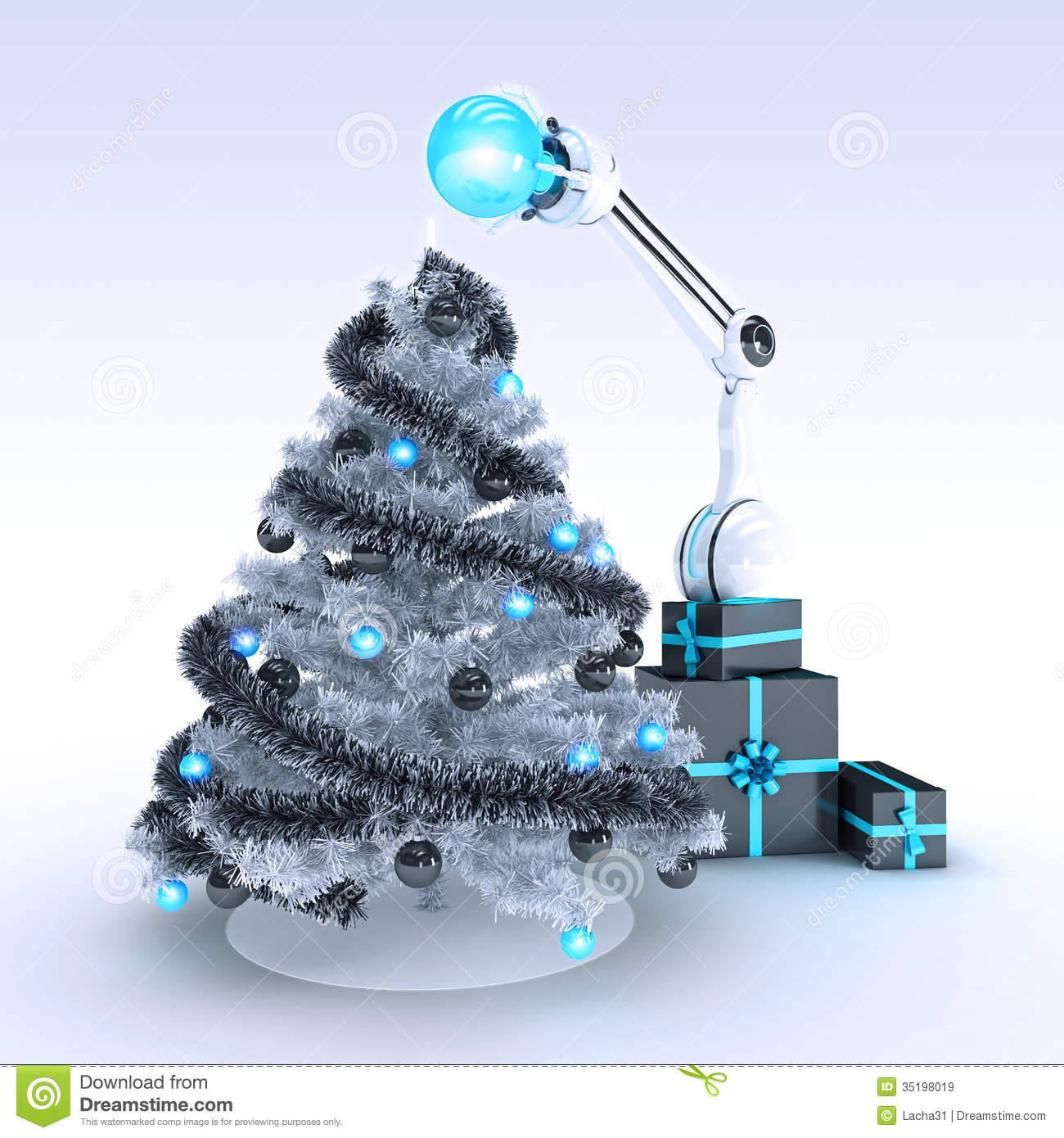 Robot And Christmas Tree Royalty Free Stock Images - Image: 35198019