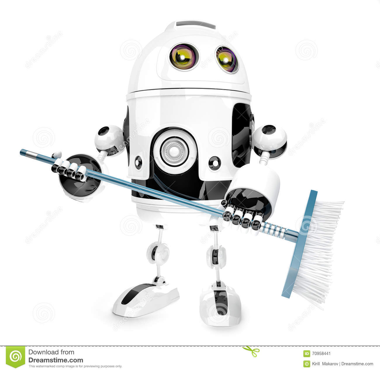 Robot Cleaner With Mop Royalty Free Cartoon