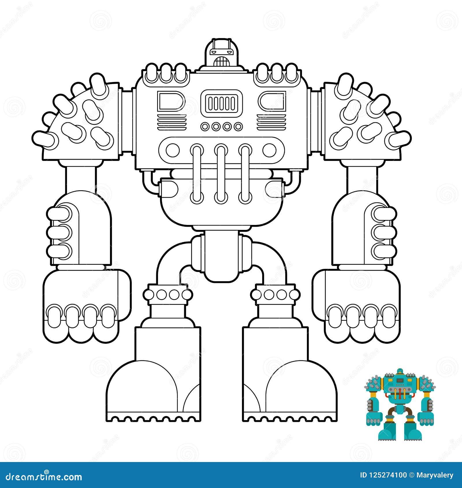 Robot Coloring Book Cyborg Warrior Future For Children Vector