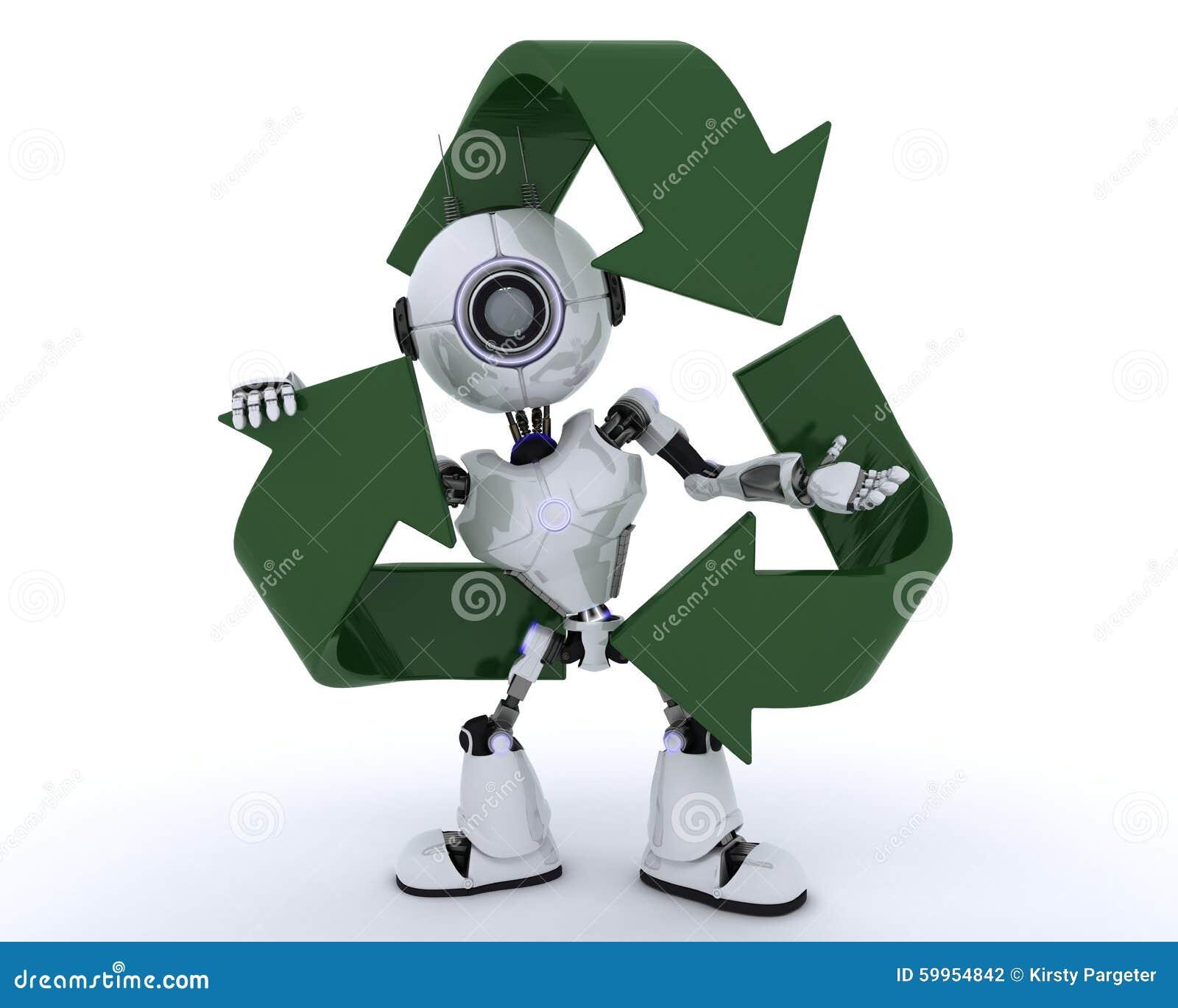 Robot con el reciclaje de símbolo