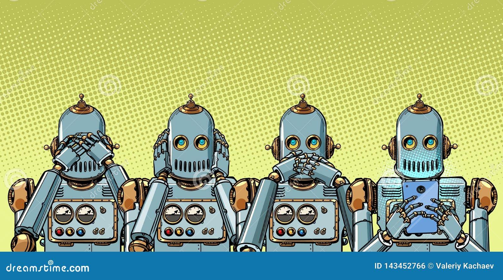 Robot con el teléfono, concepto del apego de Internet no ver oiga dicen