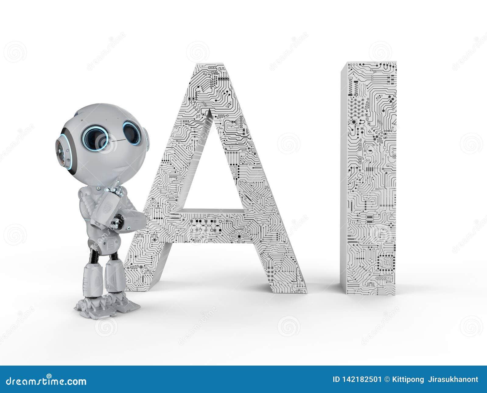 Robot con el texto del ai