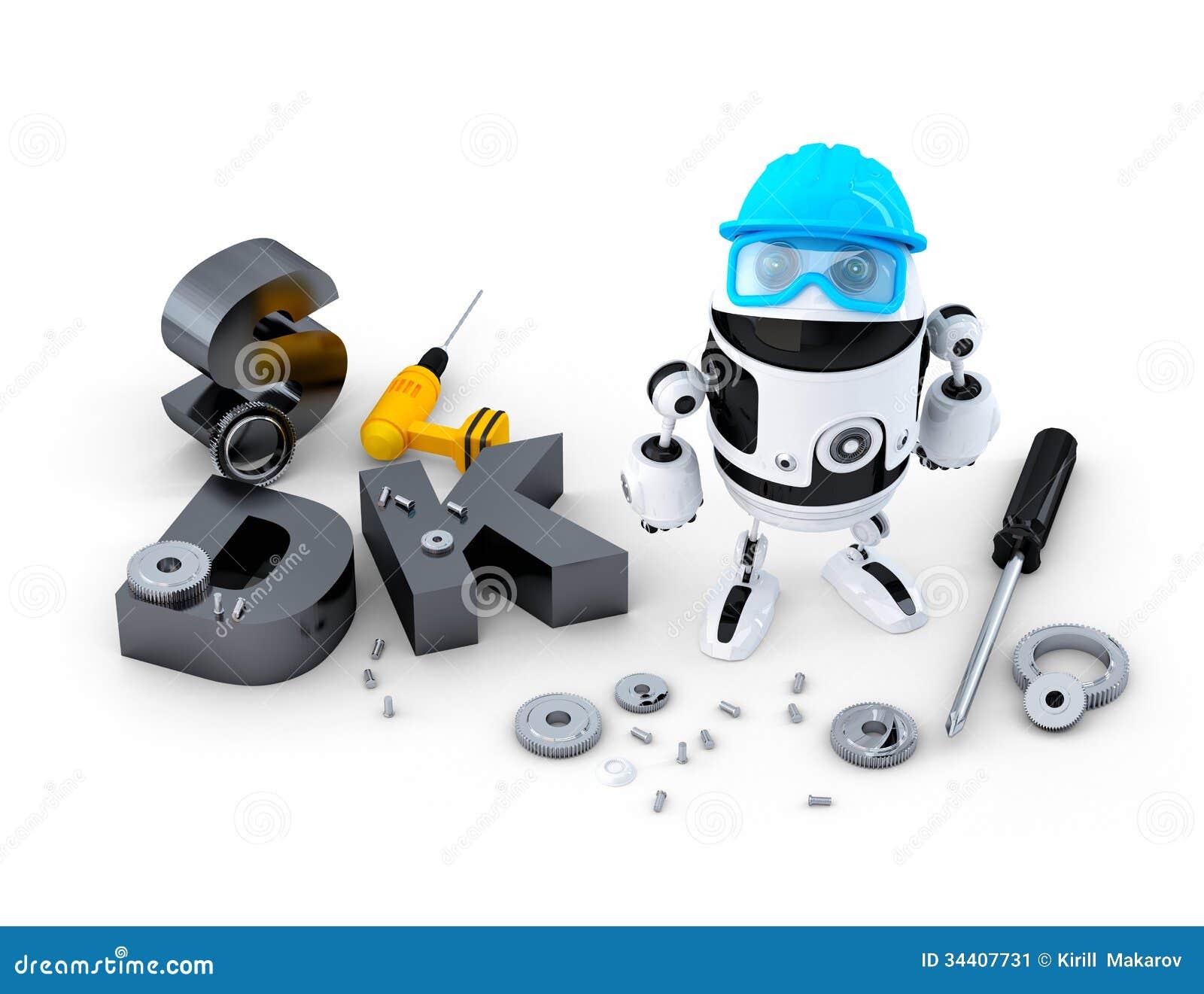 Robot con gli strumenti ed il segno di SDK. Concetto di tecnologia