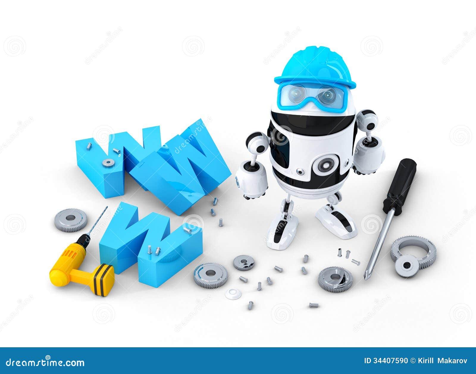 Robot con il segno di www costruzione del sito web o for Sito web di costruzione di case