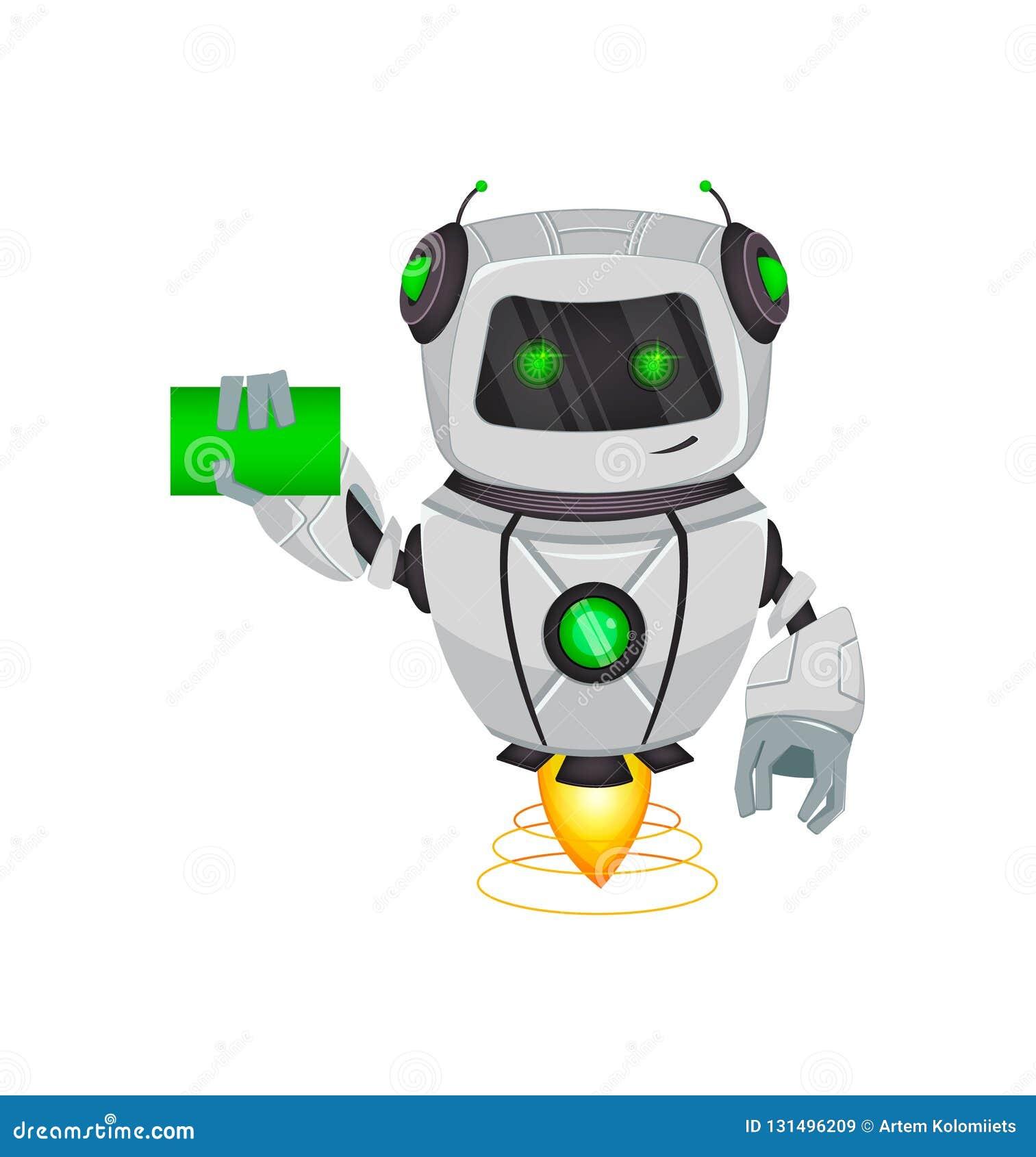 Robot con inteligencia artificial, bot El personaje de dibujos animados divertido sostiene la tarjeta de visita en blanco Organis
