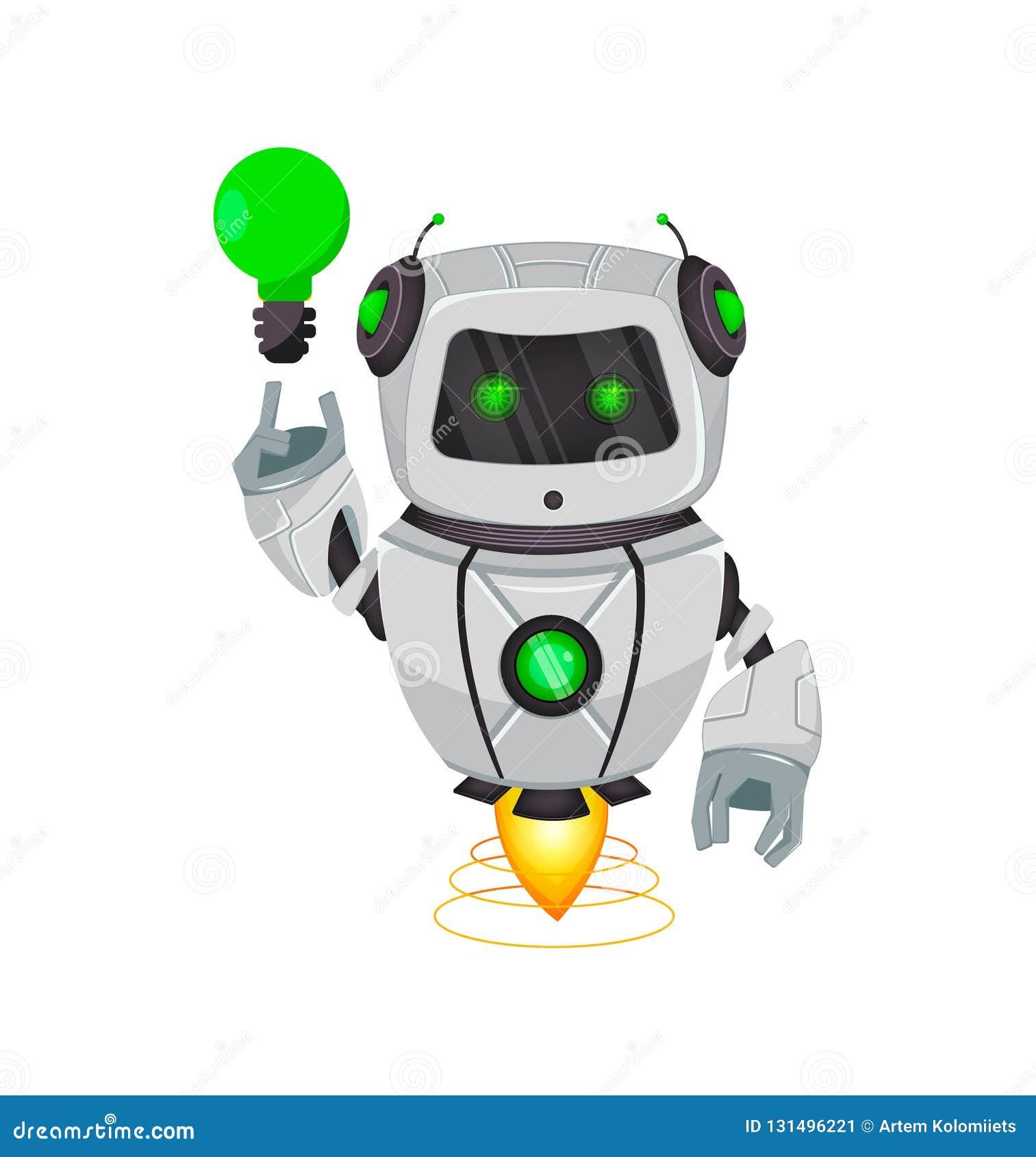 Robot con inteligencia artificial, bot Personaje de dibujos animados divertido que tiene una buena idea Organismo cibernético del