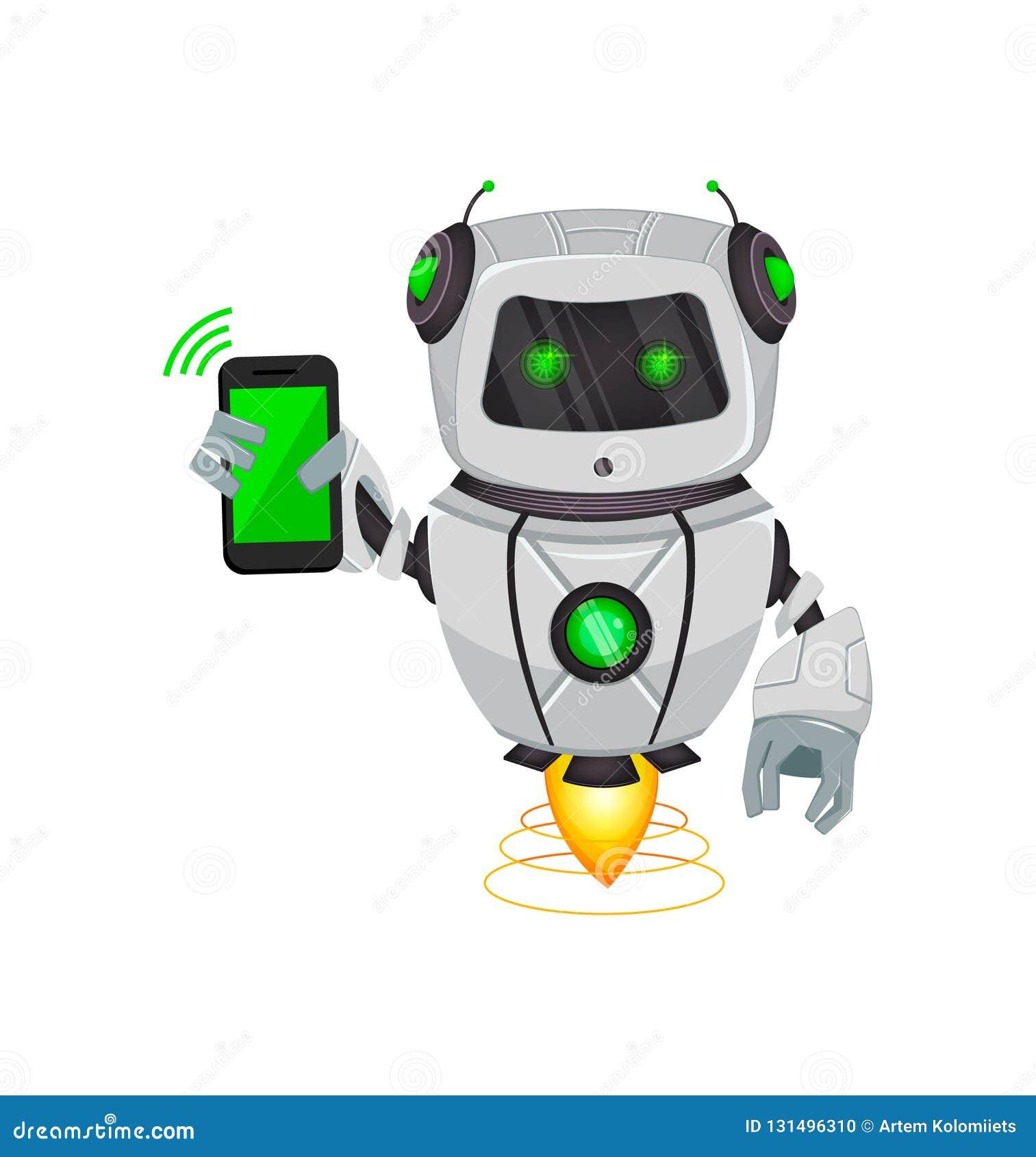 Robot con intelligenza artificiale, bot Il personaggio dei cartoni animati divertente tiene lo smartphone Organismo cibernetico d