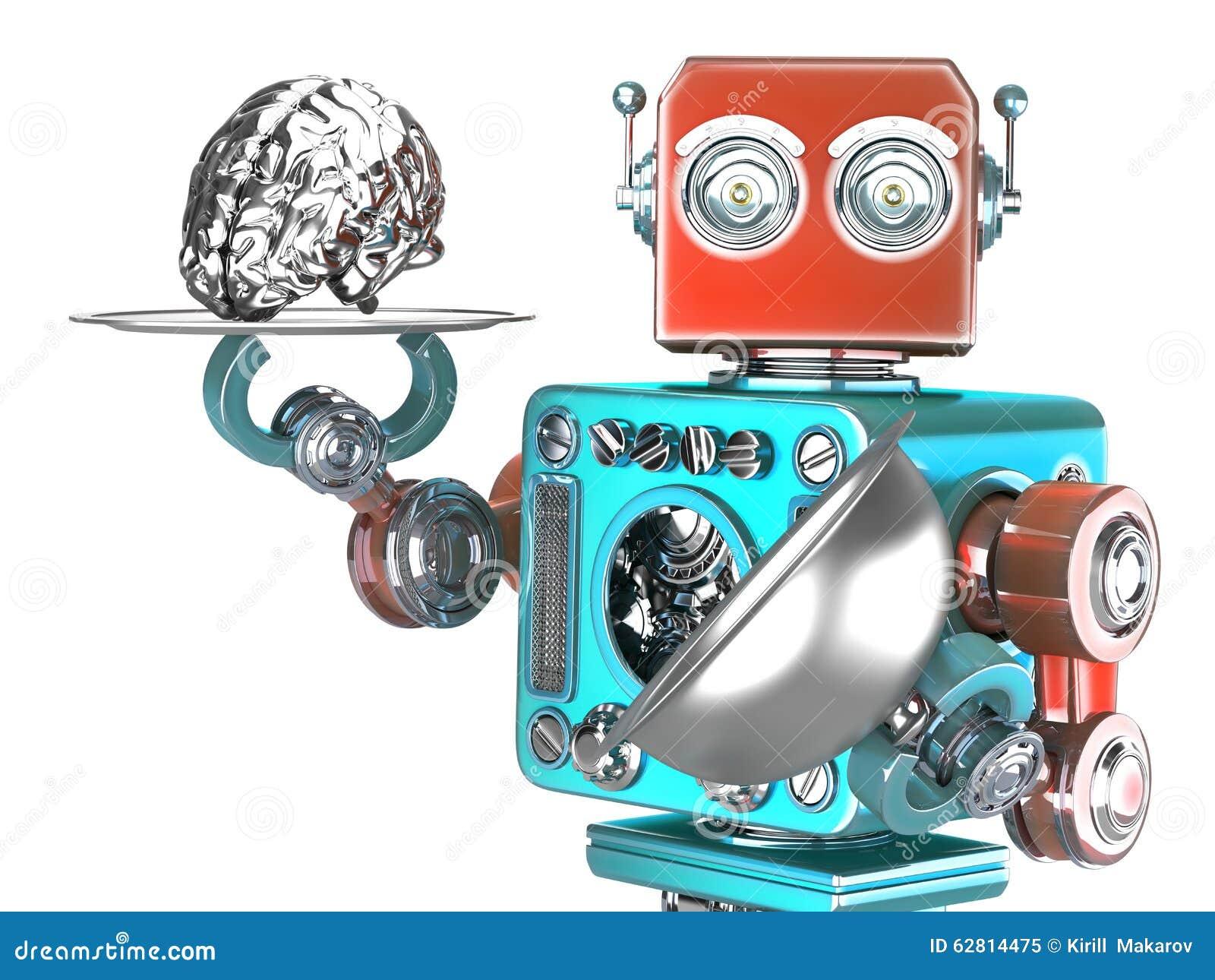 Robot con la bandeja y el cerebro humano Concepto de la inteligencia artificial Contiene la trayectoria de recortes