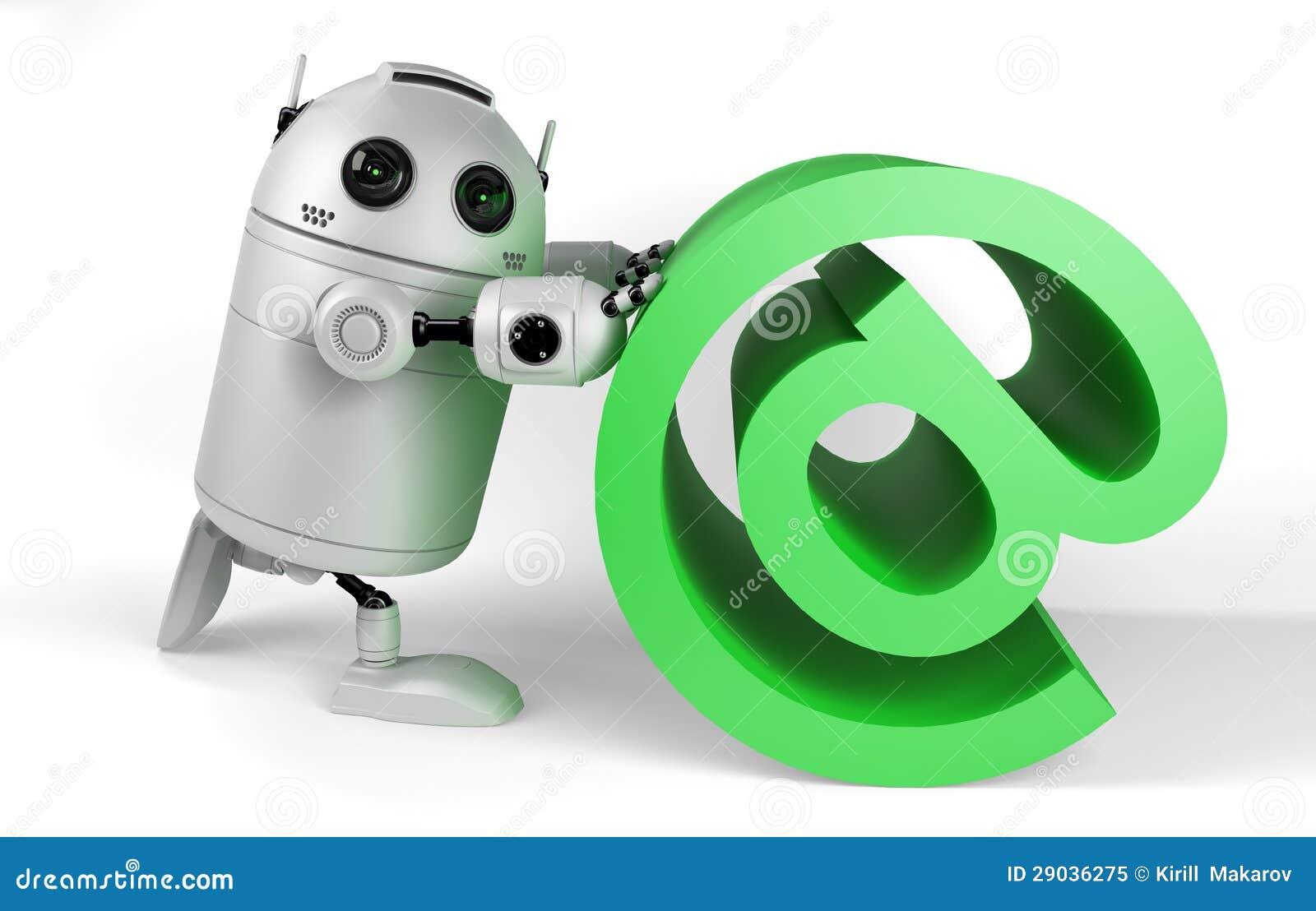 Robot con la muestra del correo electrónico