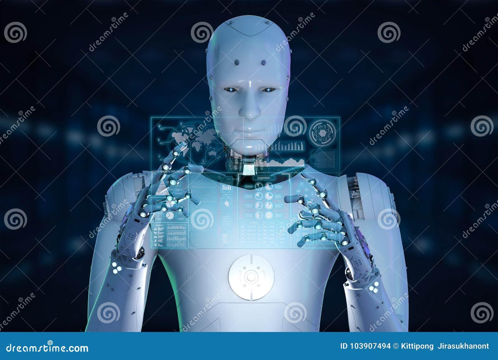 Robot con la tableta de cristal