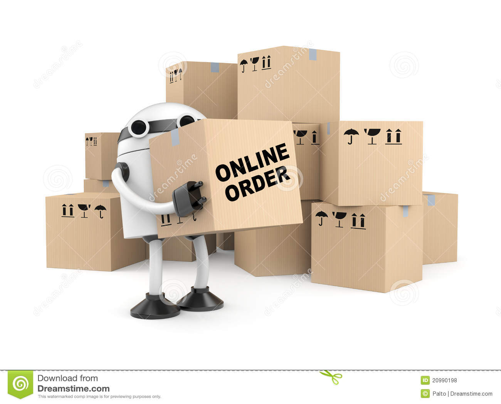 Robot con le scatole di cartone illustrazione stock