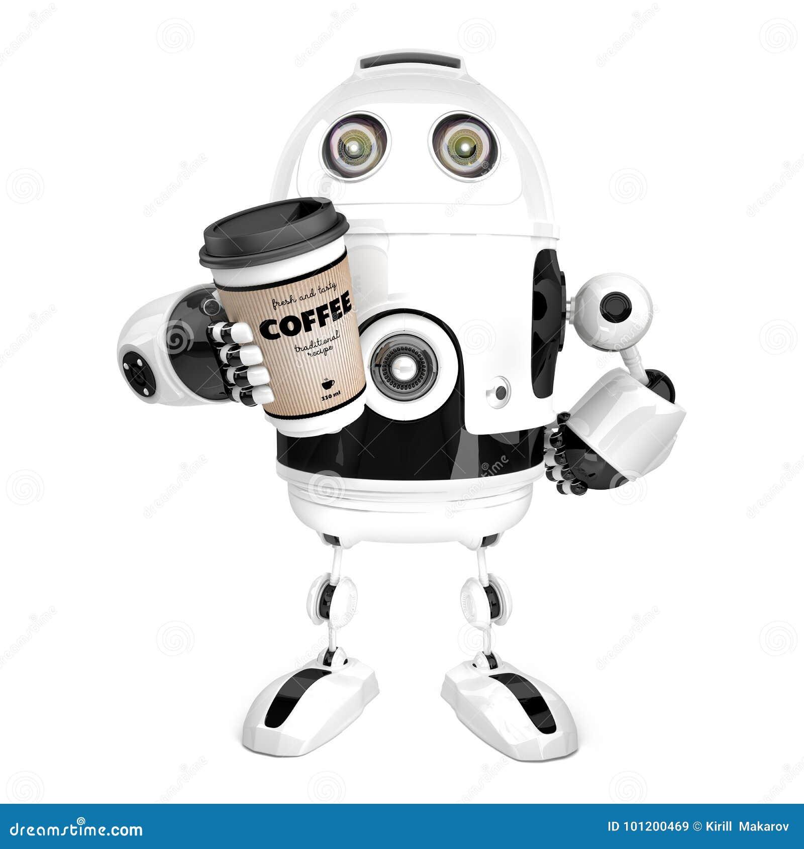 Robot con una taza de café ilustración 3D Aislado contiene