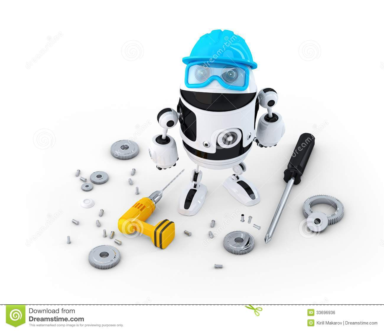 Construction Technology Tools : Robot construction worker with various tools technology