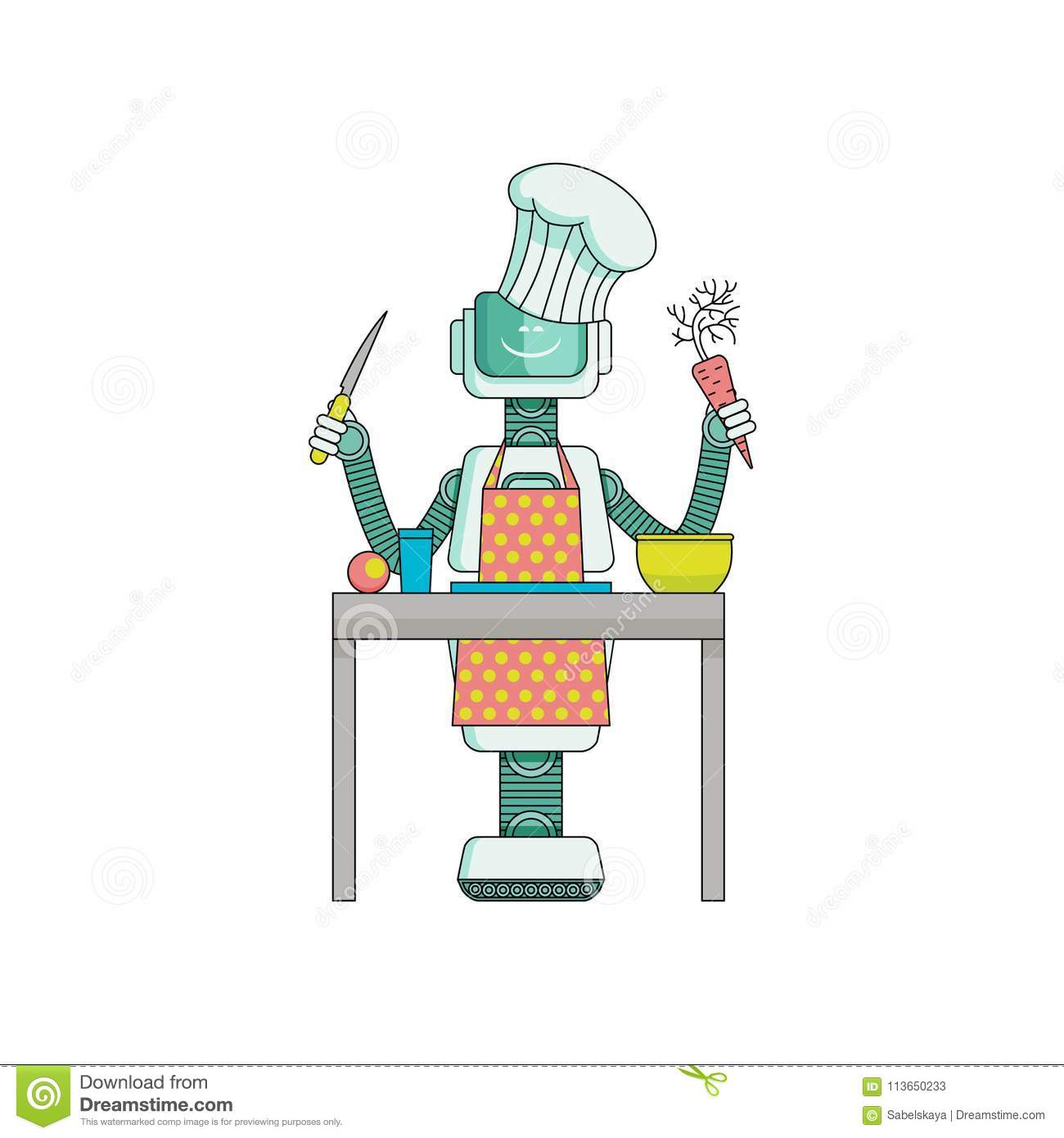 Robot cook prepares food in kitchen isolated on white background.