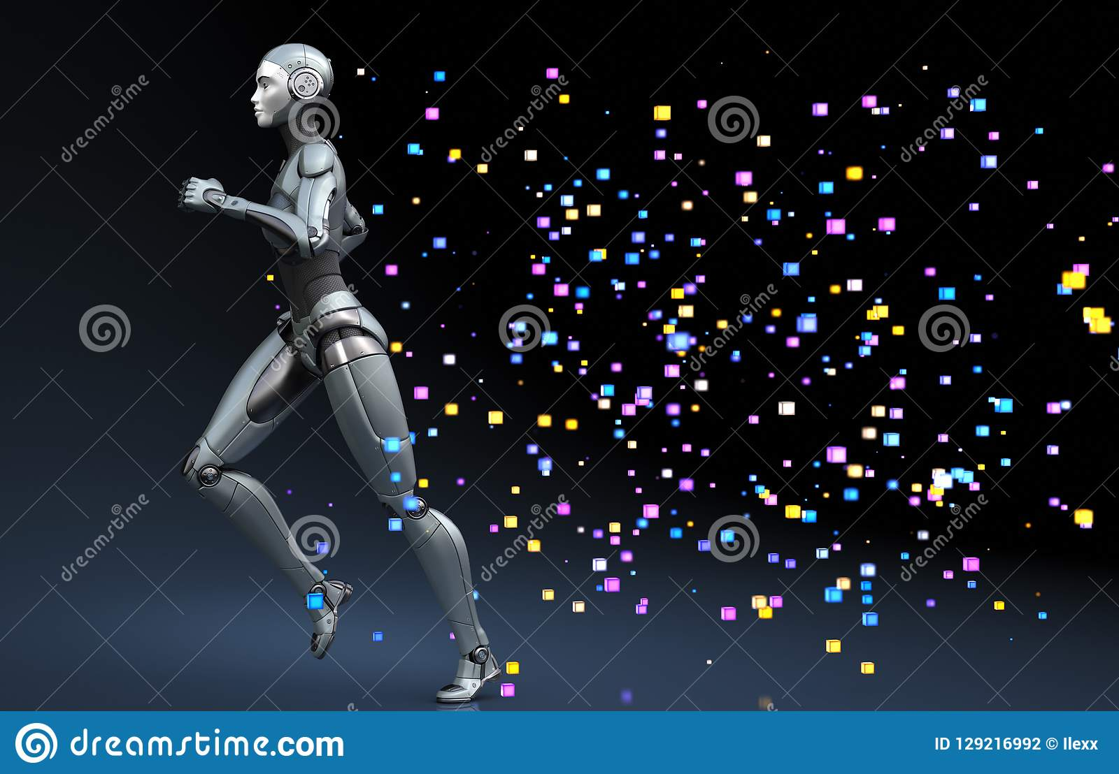 Robot corriente que sale de un rastro de pixeles