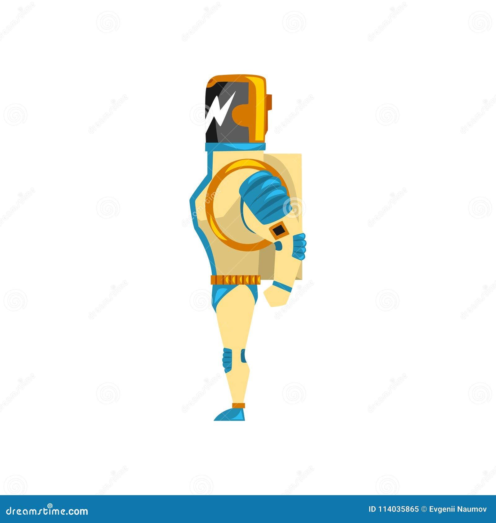 Robot, cyborg, bohatera kostium, bocznego widoku wektorowa ilustracja na białym tle
