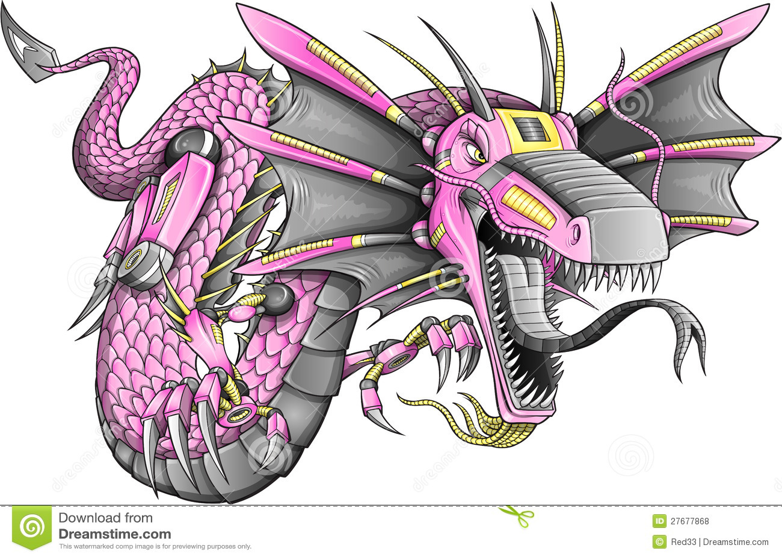 robot cyborg dragon vector stock vector illustration of ethnicity