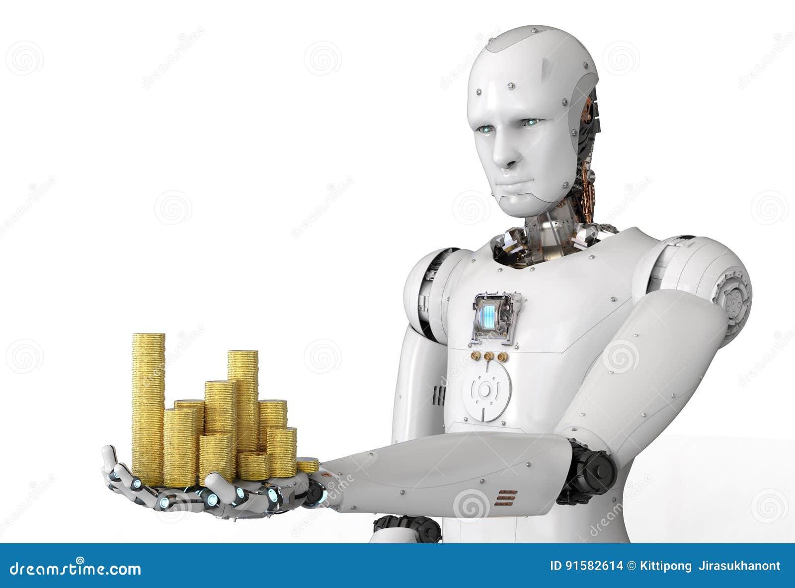 Robot d Android tenant des pièces d or