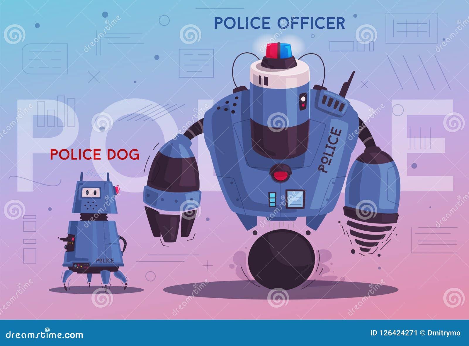 Robot de bourdon de police Cannette de fil de patrouille avec l intelligence artificielle