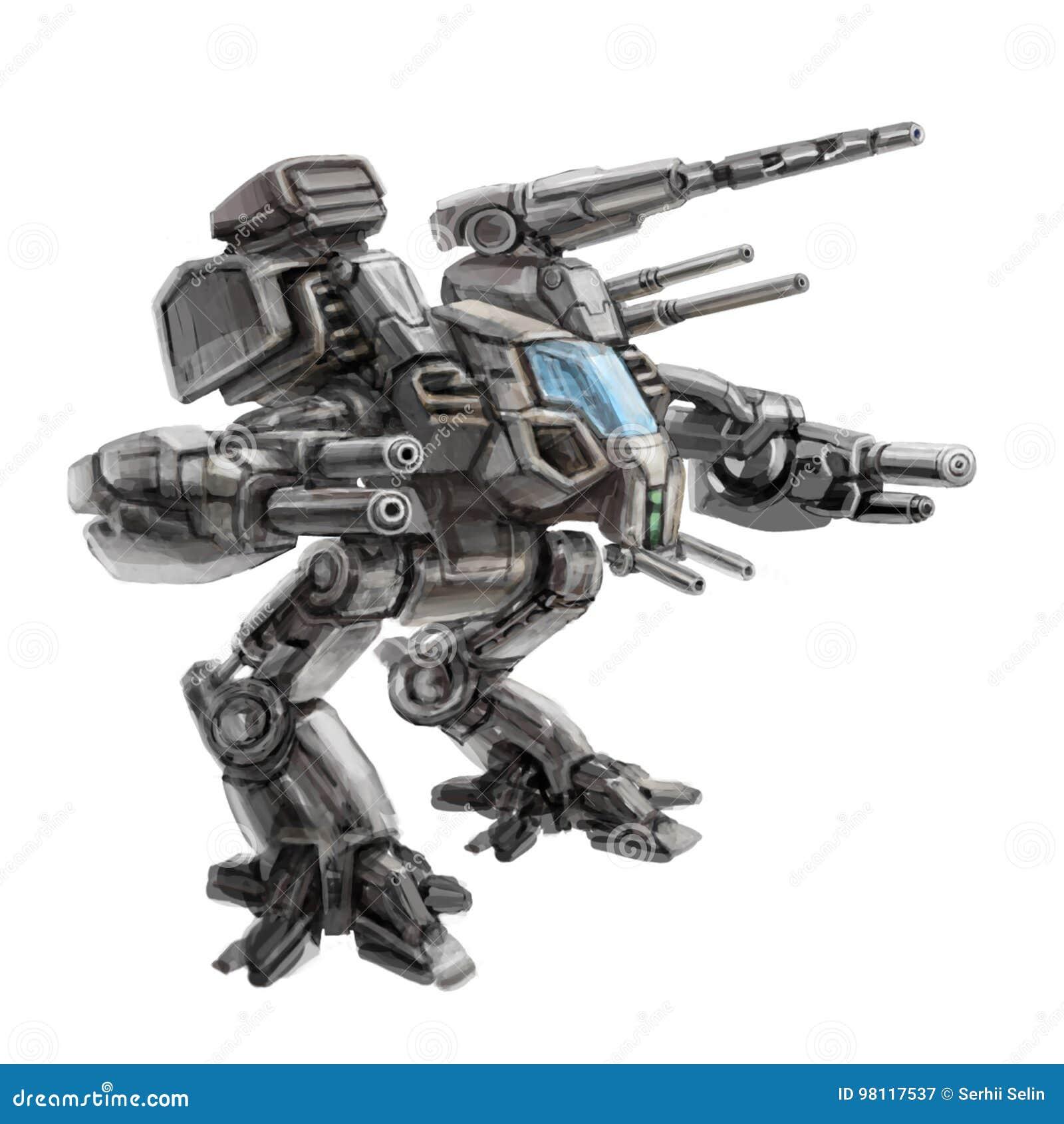 Robot de dos piernas del combate que camina Ejemplo de la ciencia ficción