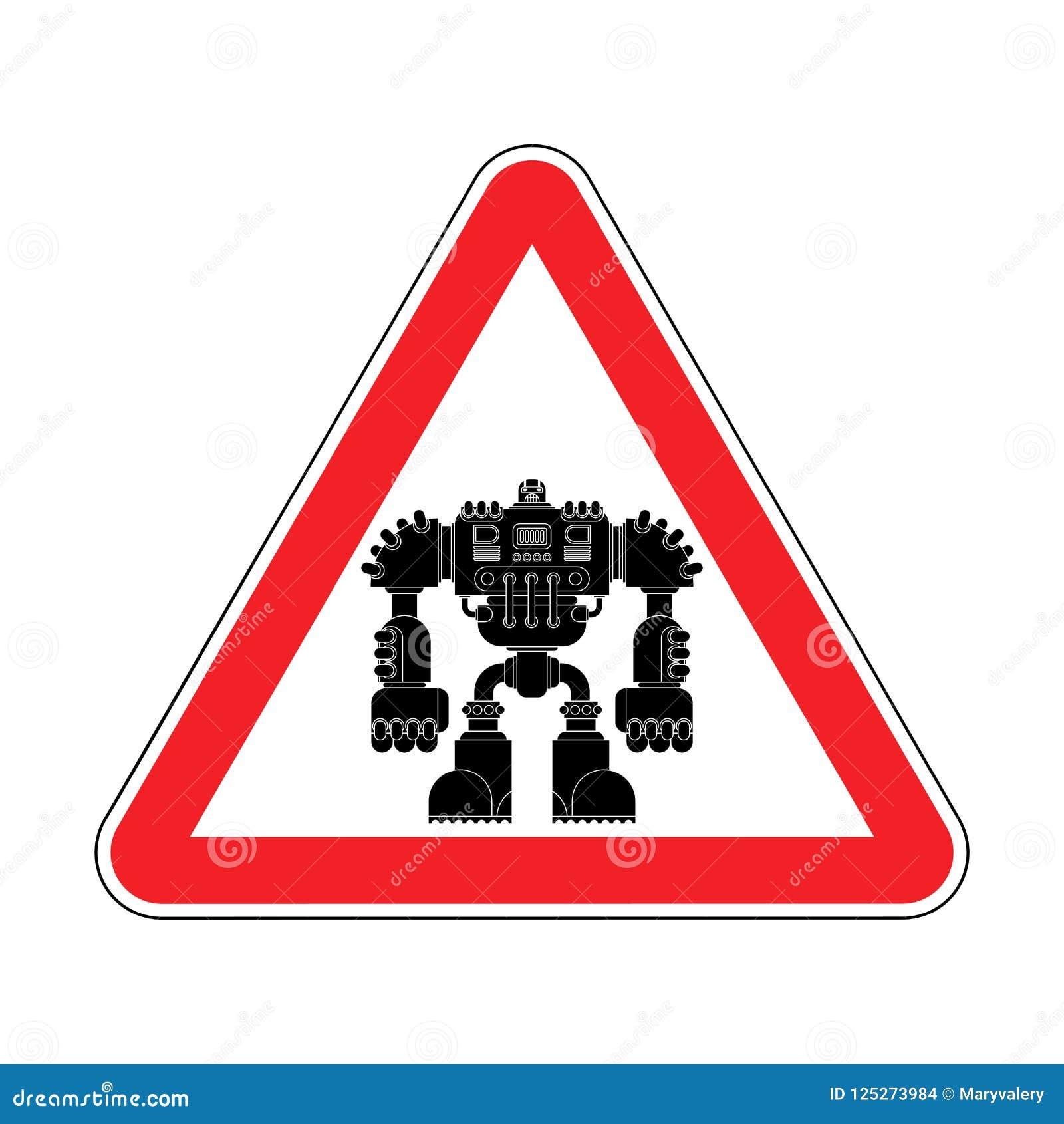 Robot de la atención Futuro rojo del guerrero del Cyborg de la señal de tráfico de la precaución VE