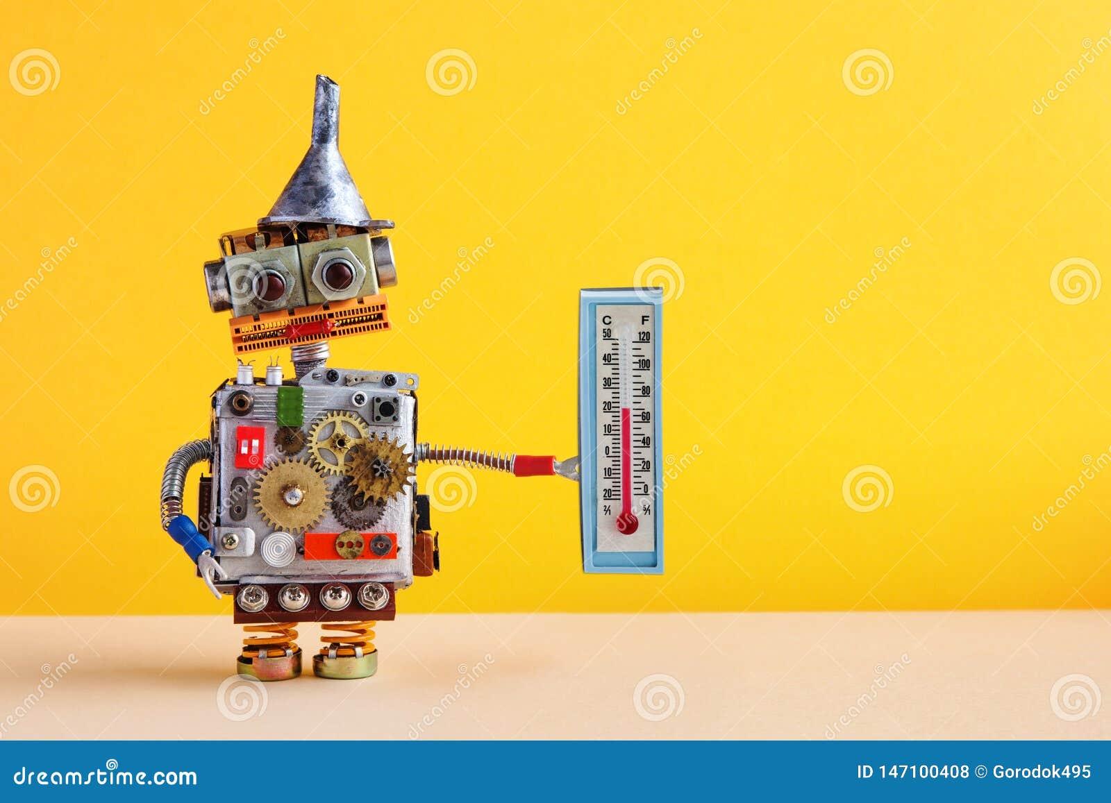 Robot de m?t?orologues avec le thermom?tre montrant le degr? Celsius de la temp?rature ambiante 21 de confort Concept de pr?visio